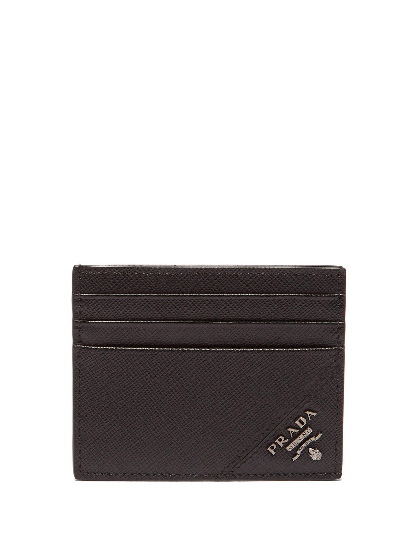 5f2d3ecfb47e Prada - Black Saffiano Leather Metallic Embellished Cardholder for Men -  Lyst. View fullscreen