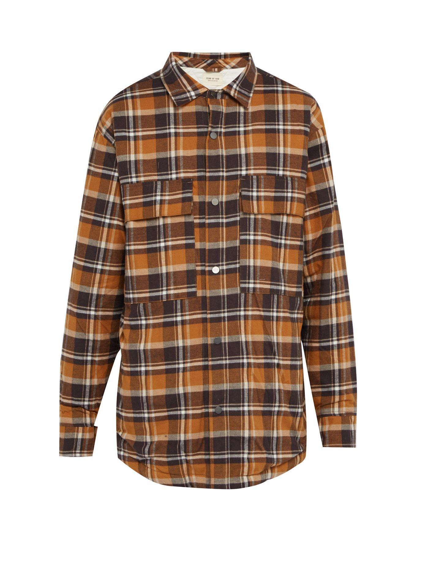 274df531c8 Lyst - Fear Of God Checked Flannel Overshirt in Brown for Men