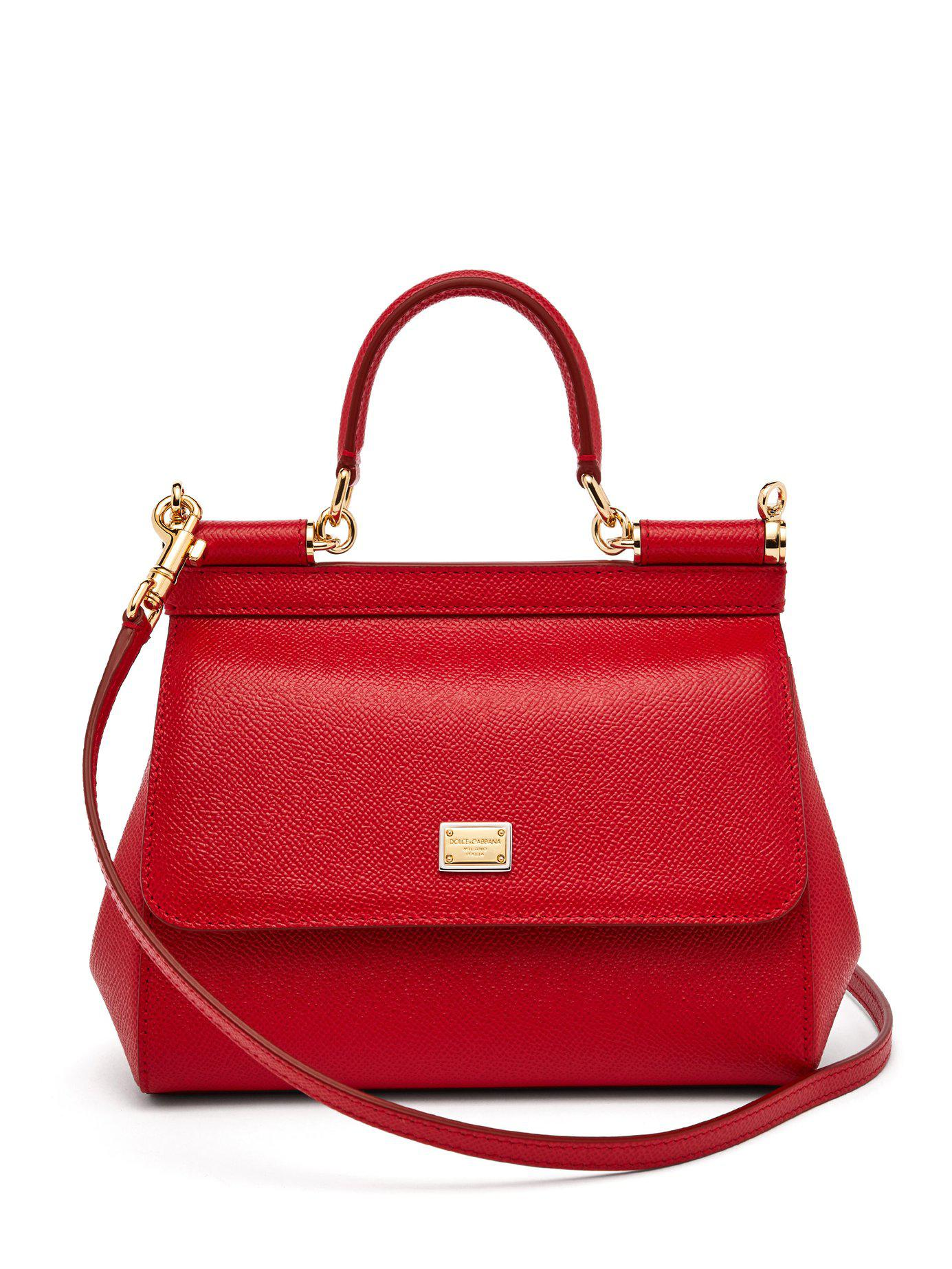 83fc1d60c7fd Lyst - Dolce   Gabbana Sicily Small Dauphine Leather Bag in Red