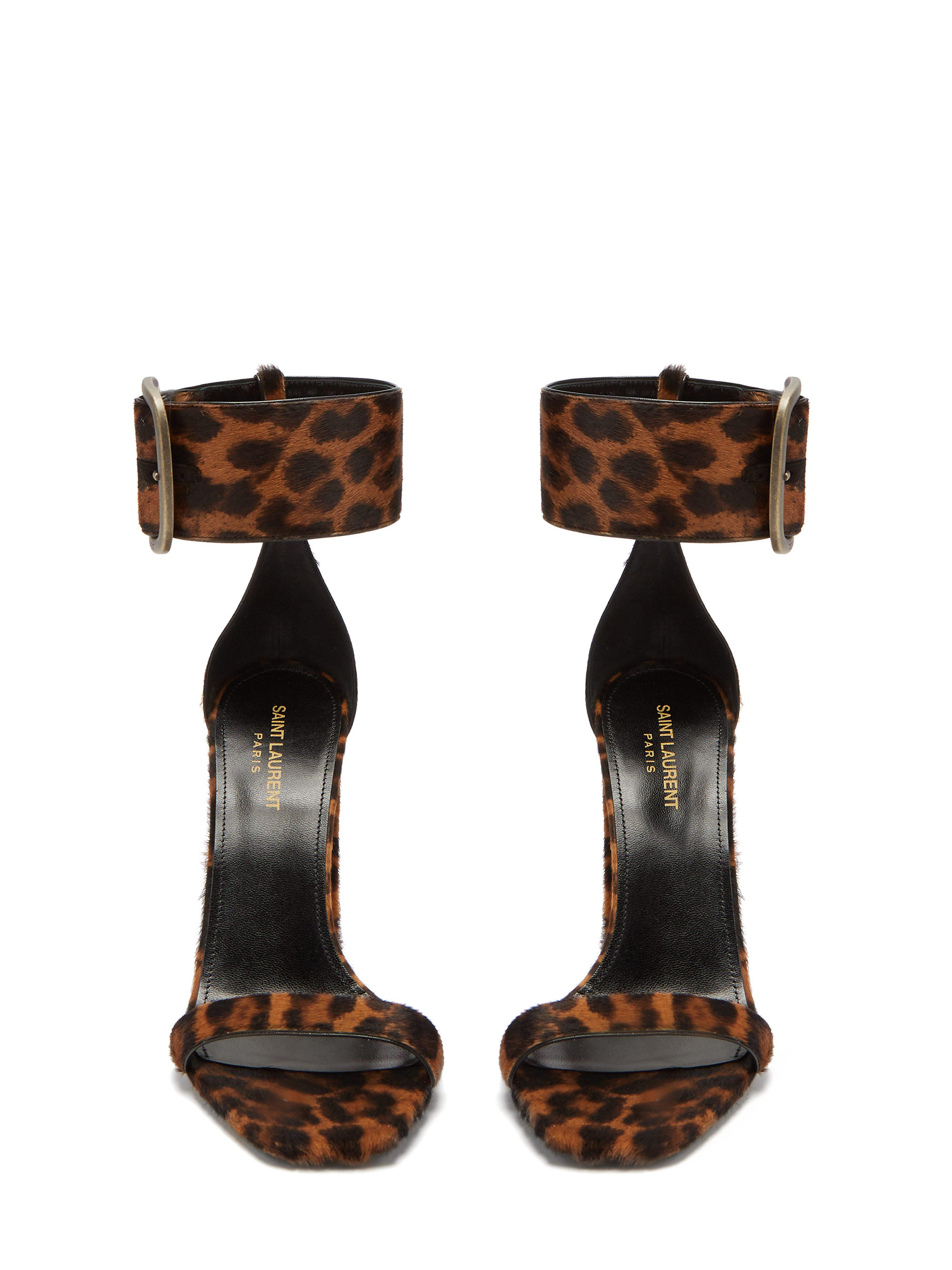 74ee9edccd Saint Laurent Loulou Buckled Leopard Print Sandals in Brown - Lyst