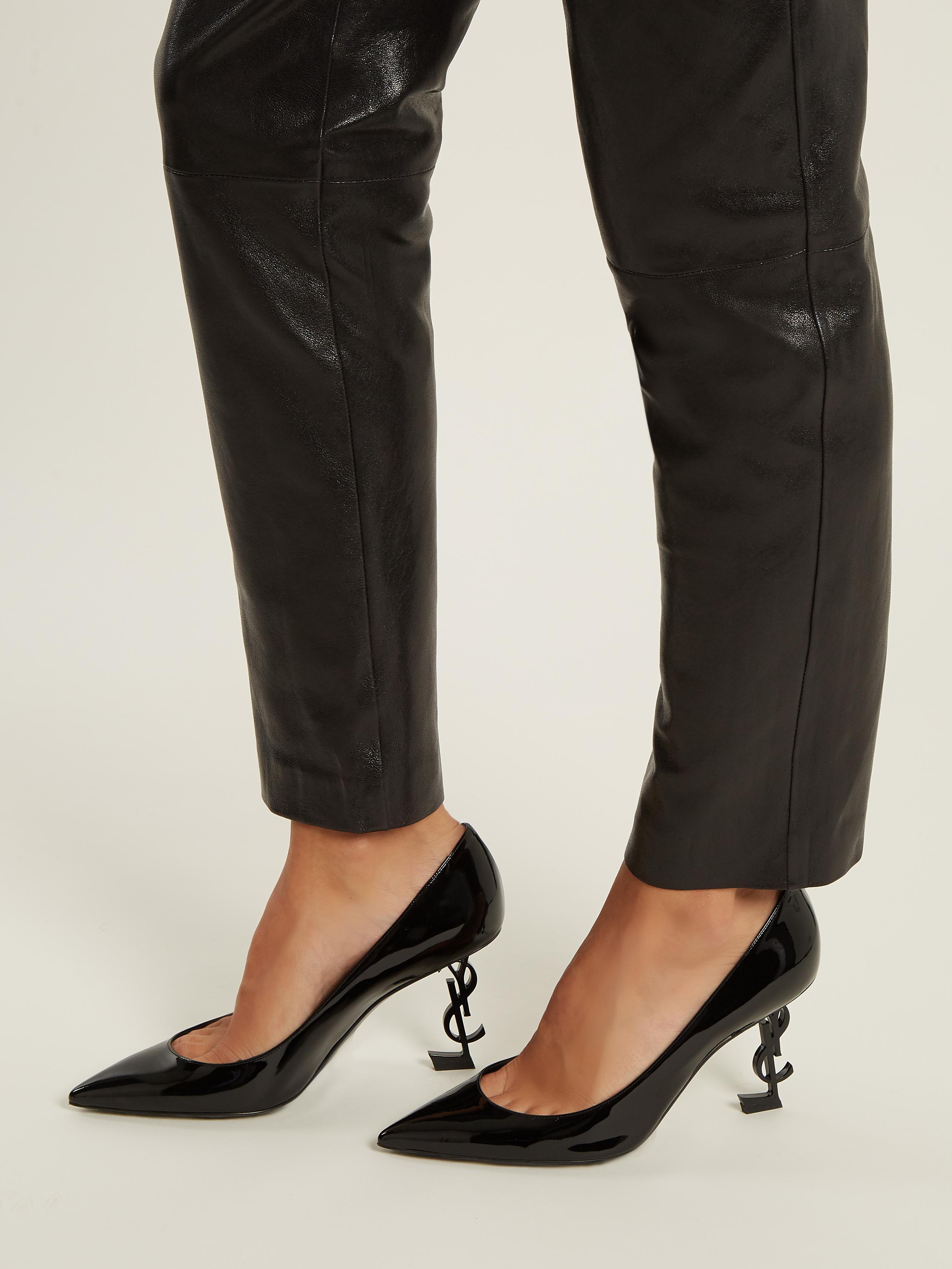 89e536ade Saint Laurent Opyum Logo-heel Patent-leather Pumps in Black - Lyst