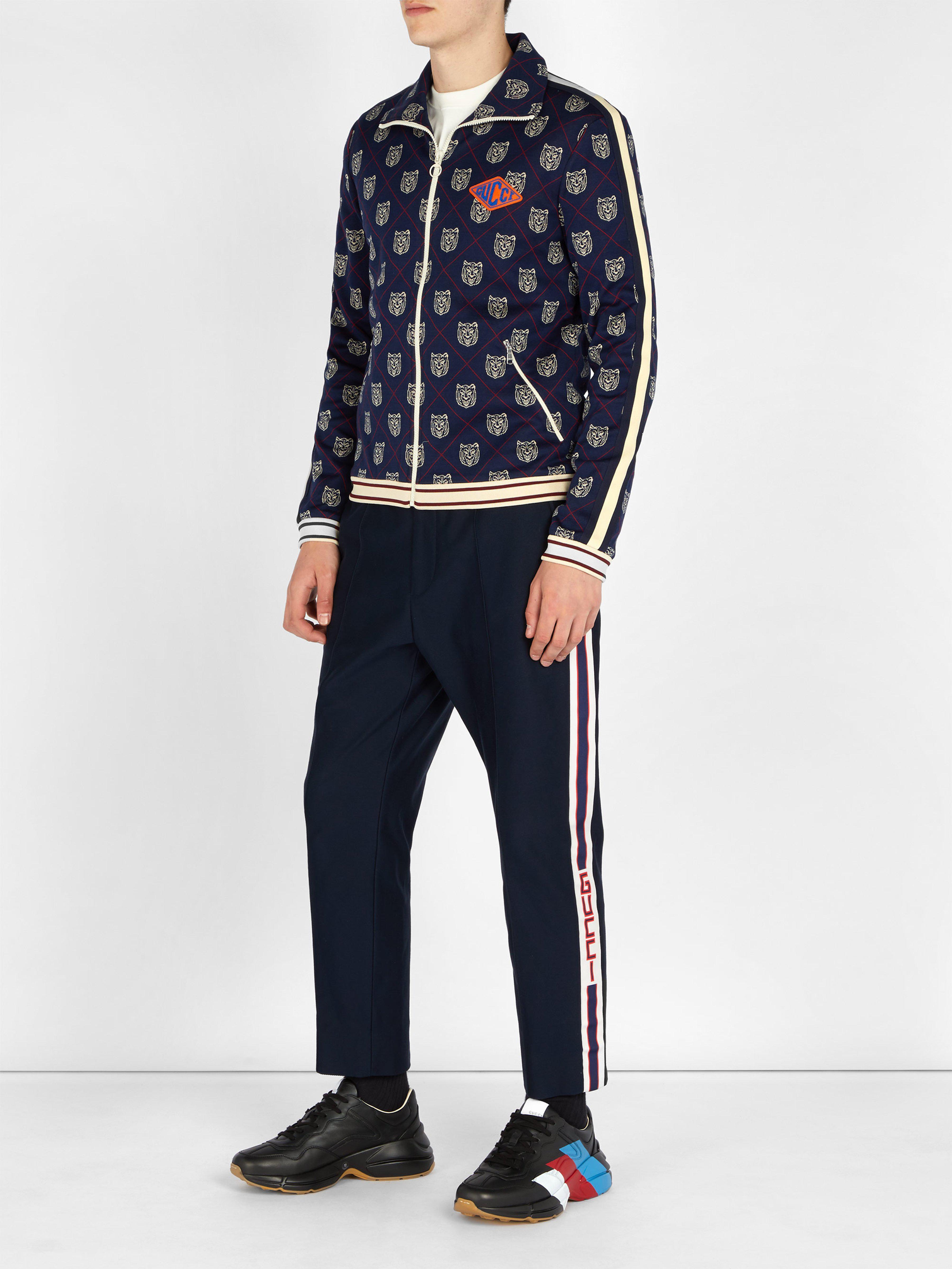 6b7fc55577b Lyst - Pantalon de jogging en sergé de coton à logo Gucci pour homme ...