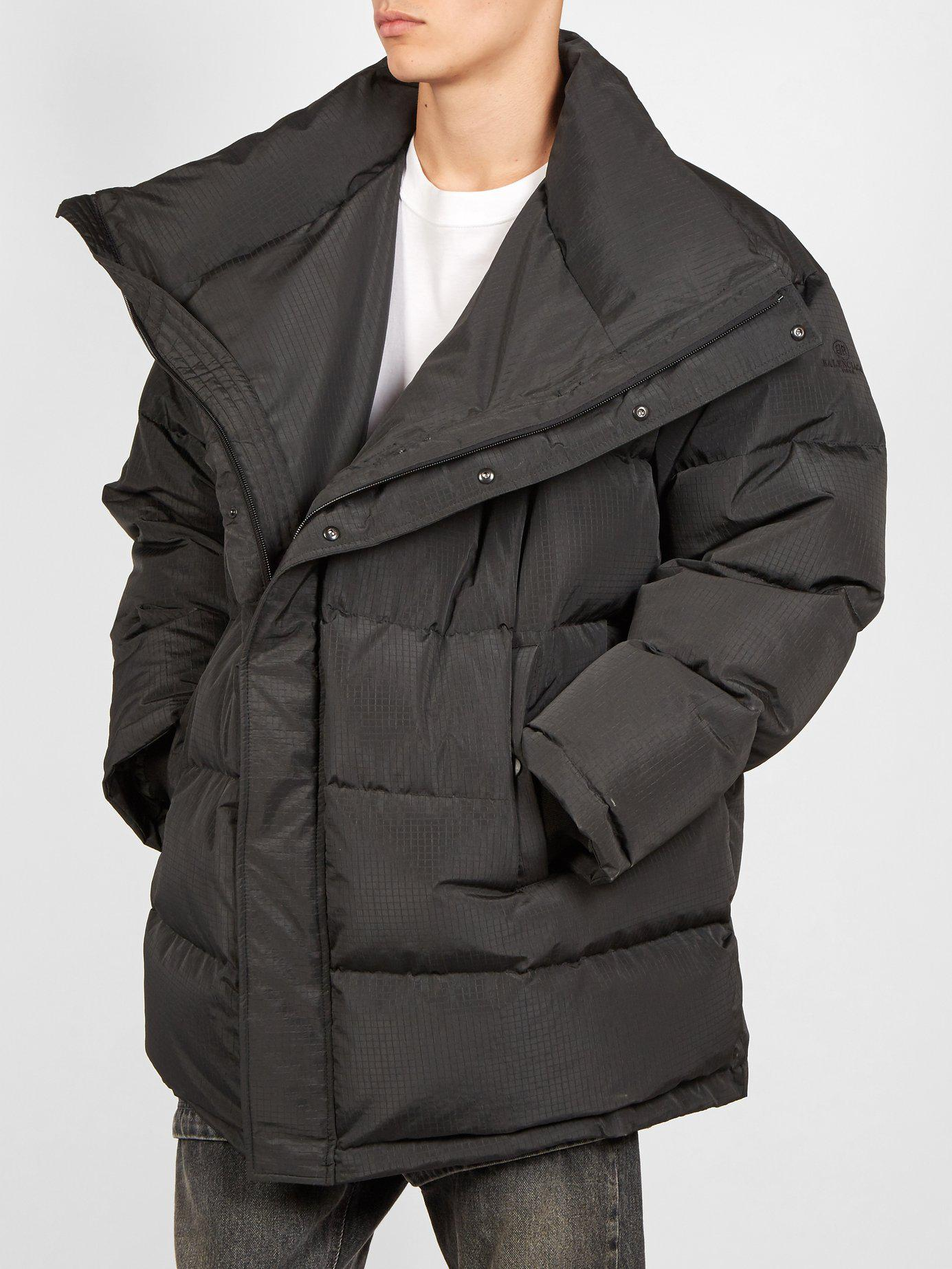95038e677137 Lyst - Balenciaga Quilted Down Ripstop Parka in Black for Men