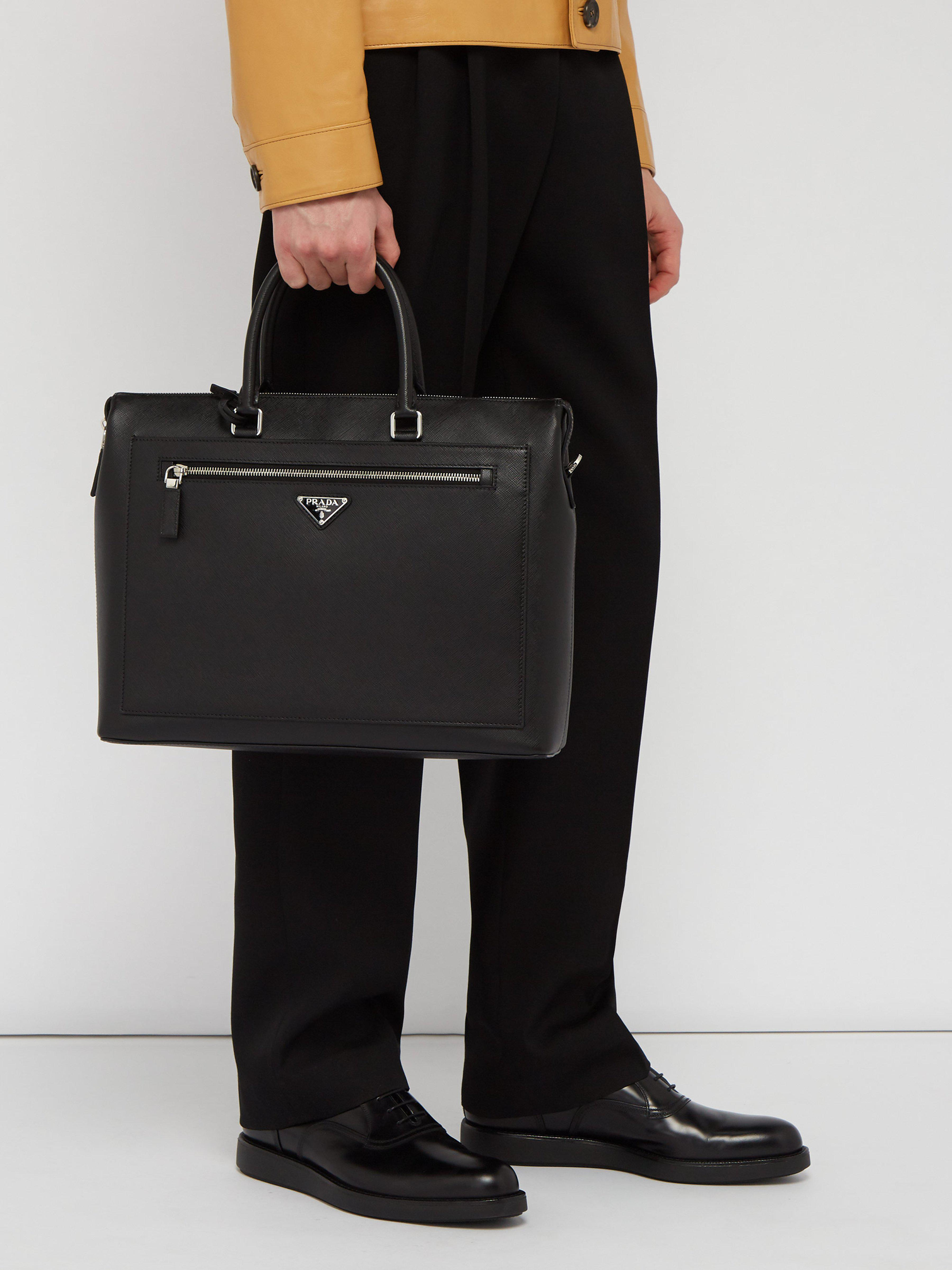 aeed2e82a411 Prada Saffiano Leather Briefcase in Black for Men - Lyst