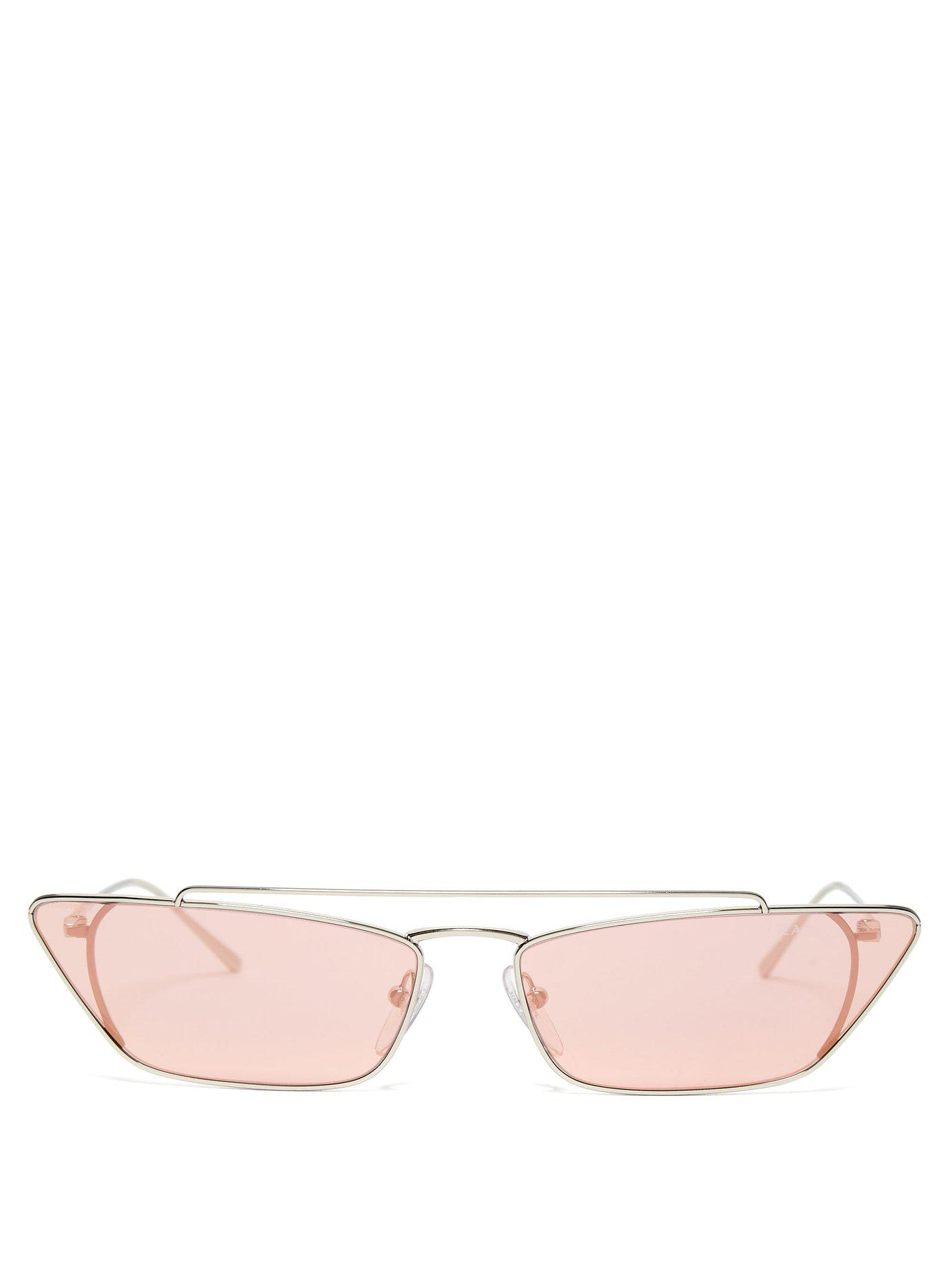 83d7edab03 Prada Ultravox Rectangular Frame Metal Sunglasses in Pink - Lyst