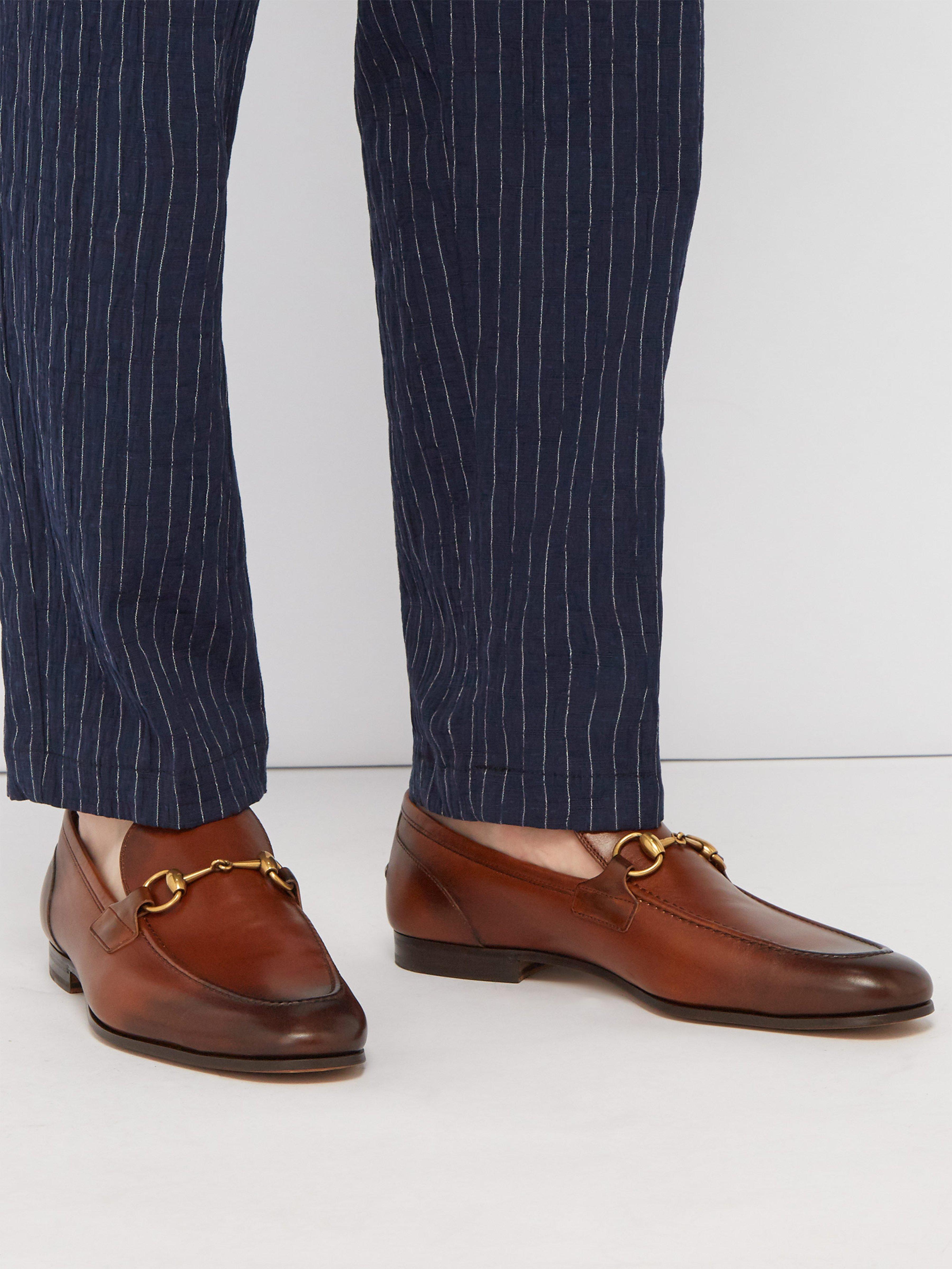 d1751ba8160 Gucci Jordan Horsebit Leather Loafers in Brown for Men - Lyst