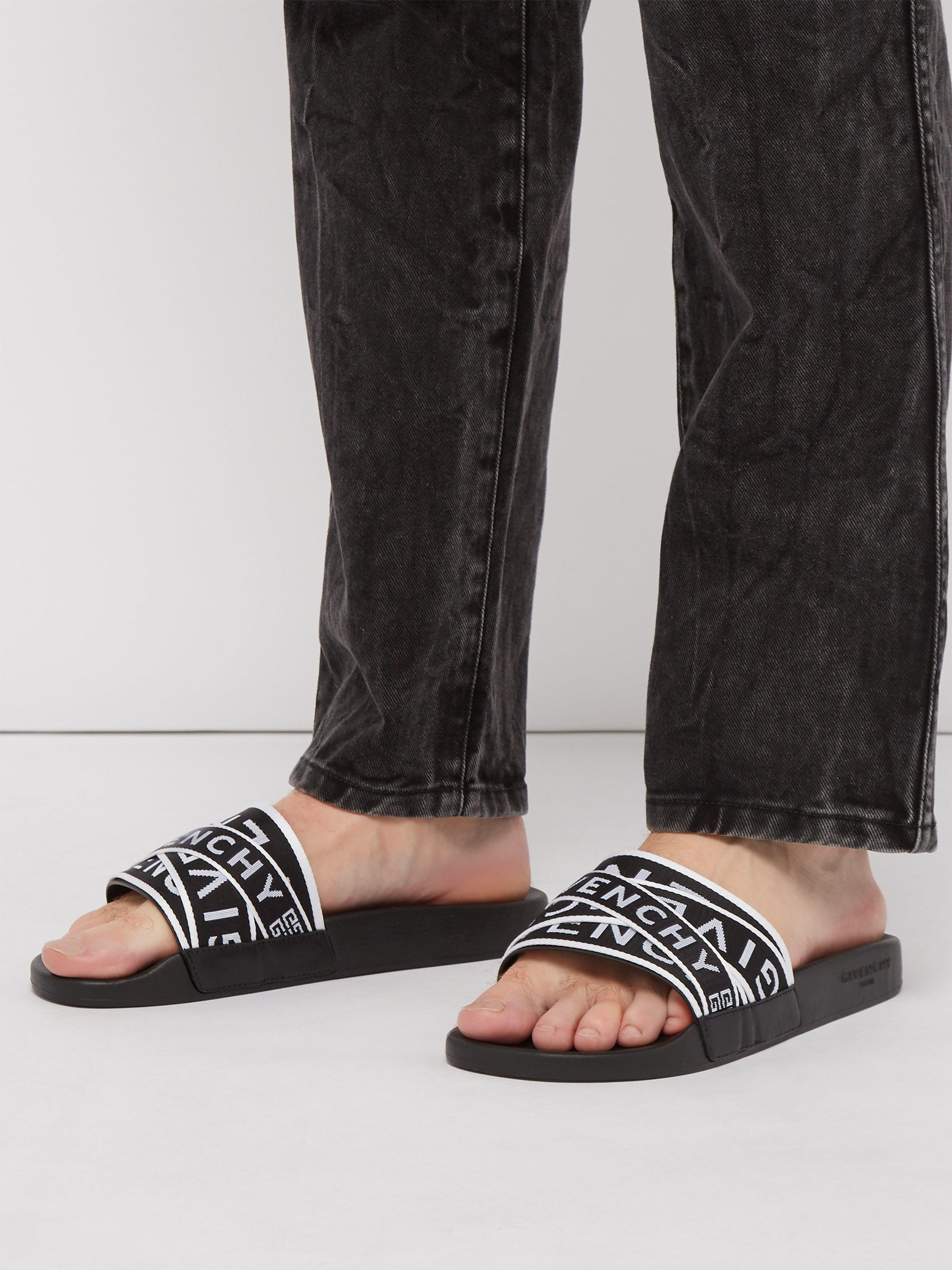 bdbb5527528 Givenchy Logo Strap Sliders in Black for Men - Lyst