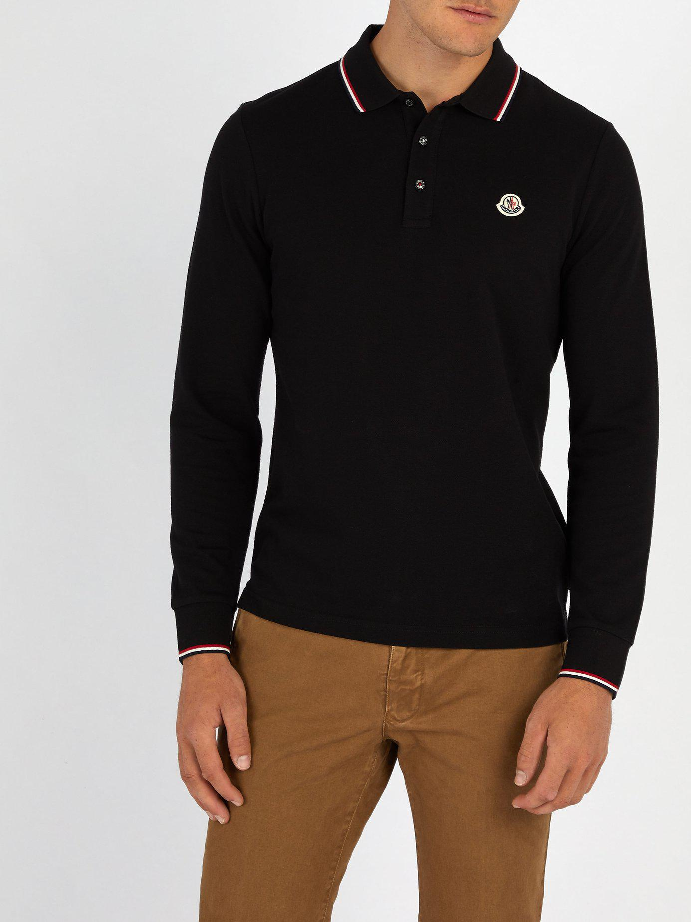 71f076166 Lyst - Moncler Long Sleeved Cotton Piqué Polo Shirt in Black for Men