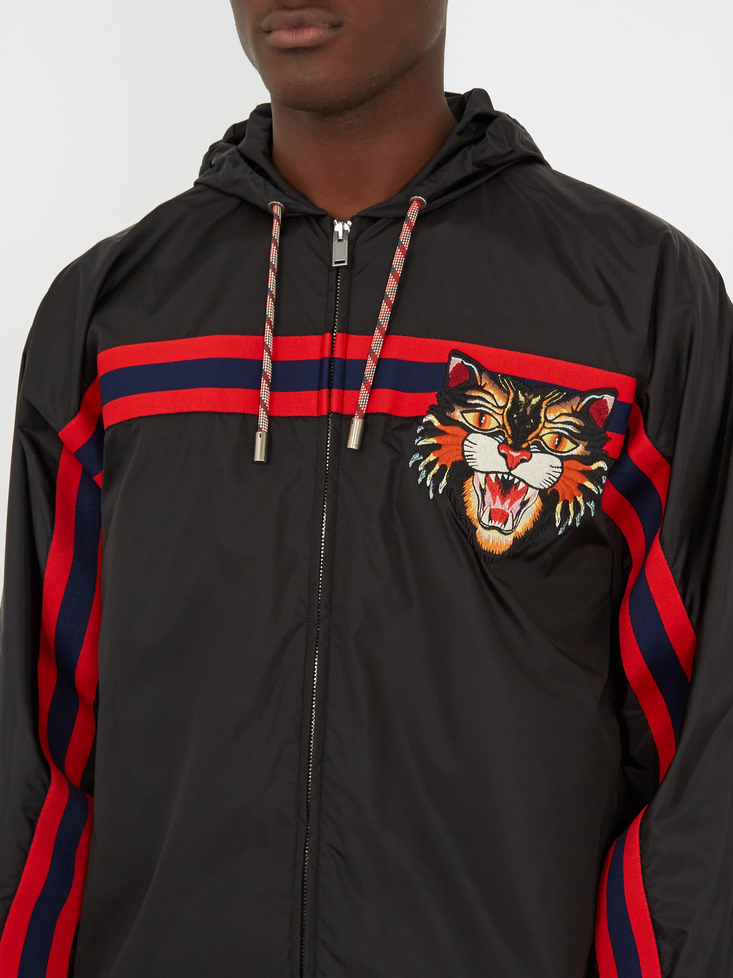 6daac6d9e6a Lyst - Gucci Cat-embroidered Nylon Jacket in Black for Men