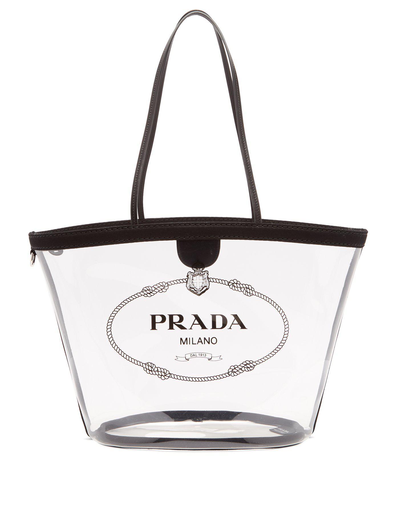 af2e156707a6 Lyst - Prada Logo Print Clear Pvc Tote in Black - Save 3%