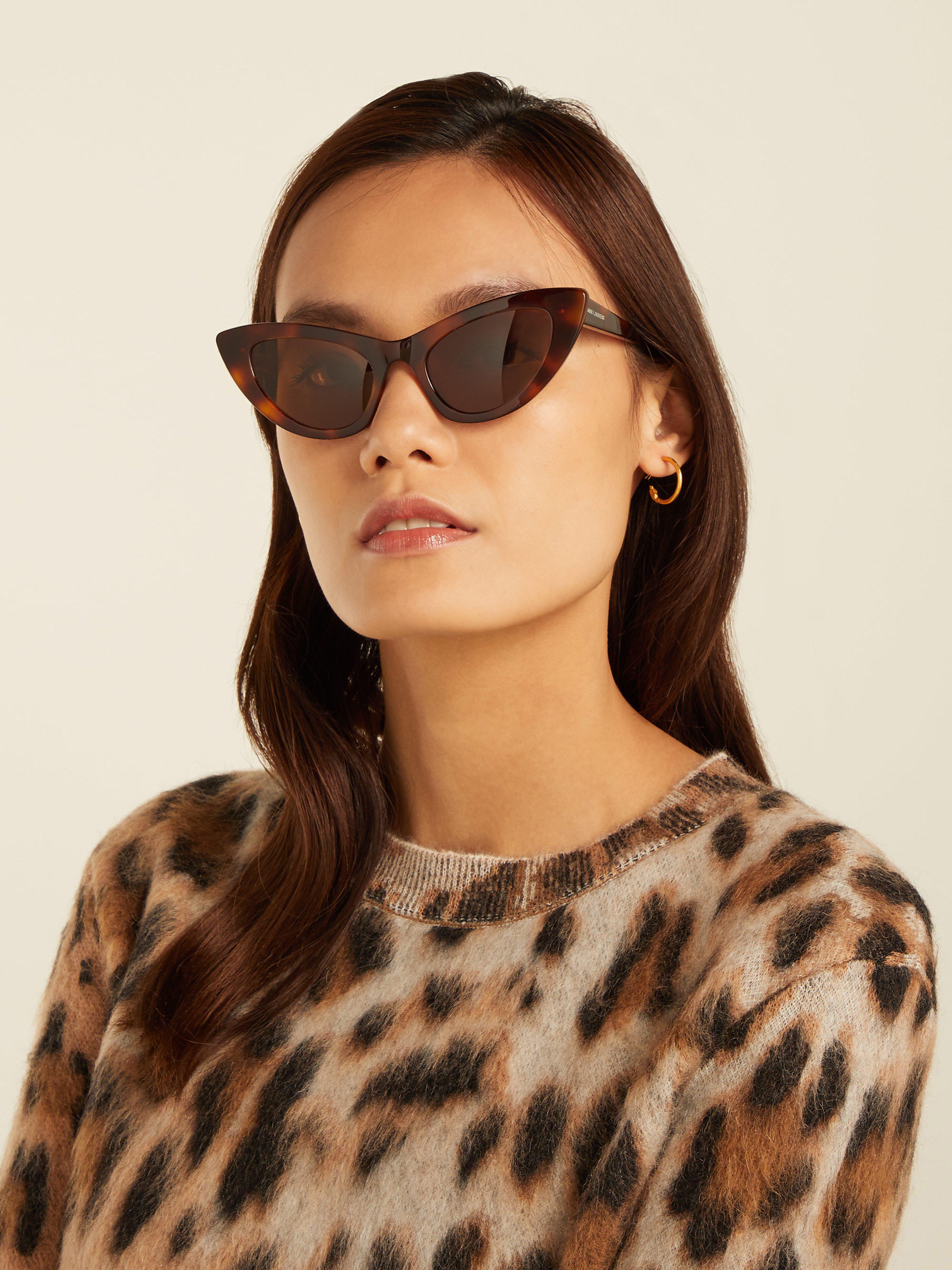 3ff20fa633 Saint Laurent Lily Cat Eye Sunglasses in Brown - Lyst