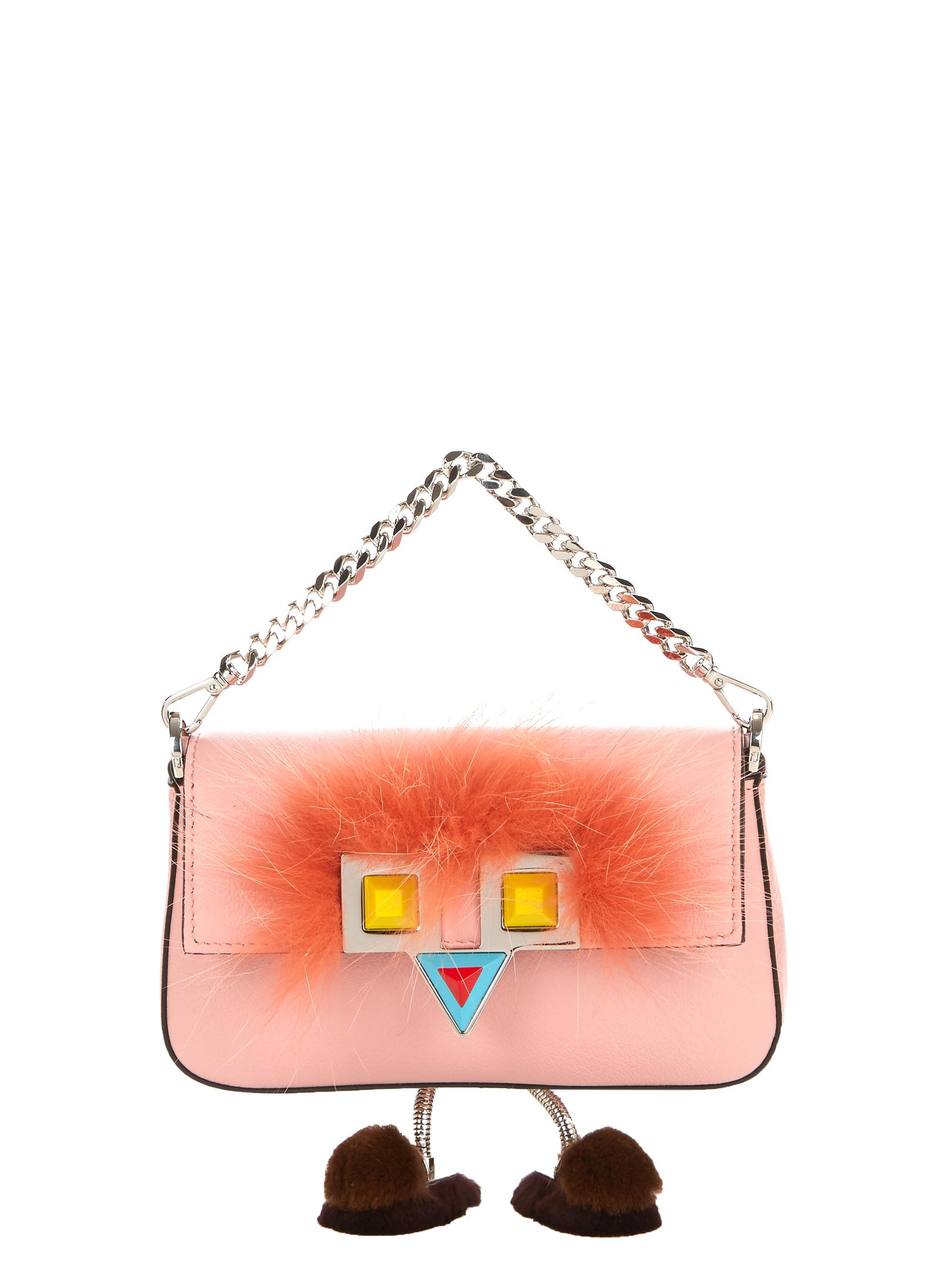 834f9893410 Fendi Micro Baguette Fur-embellished Cross-body Bag in Pink - Lyst