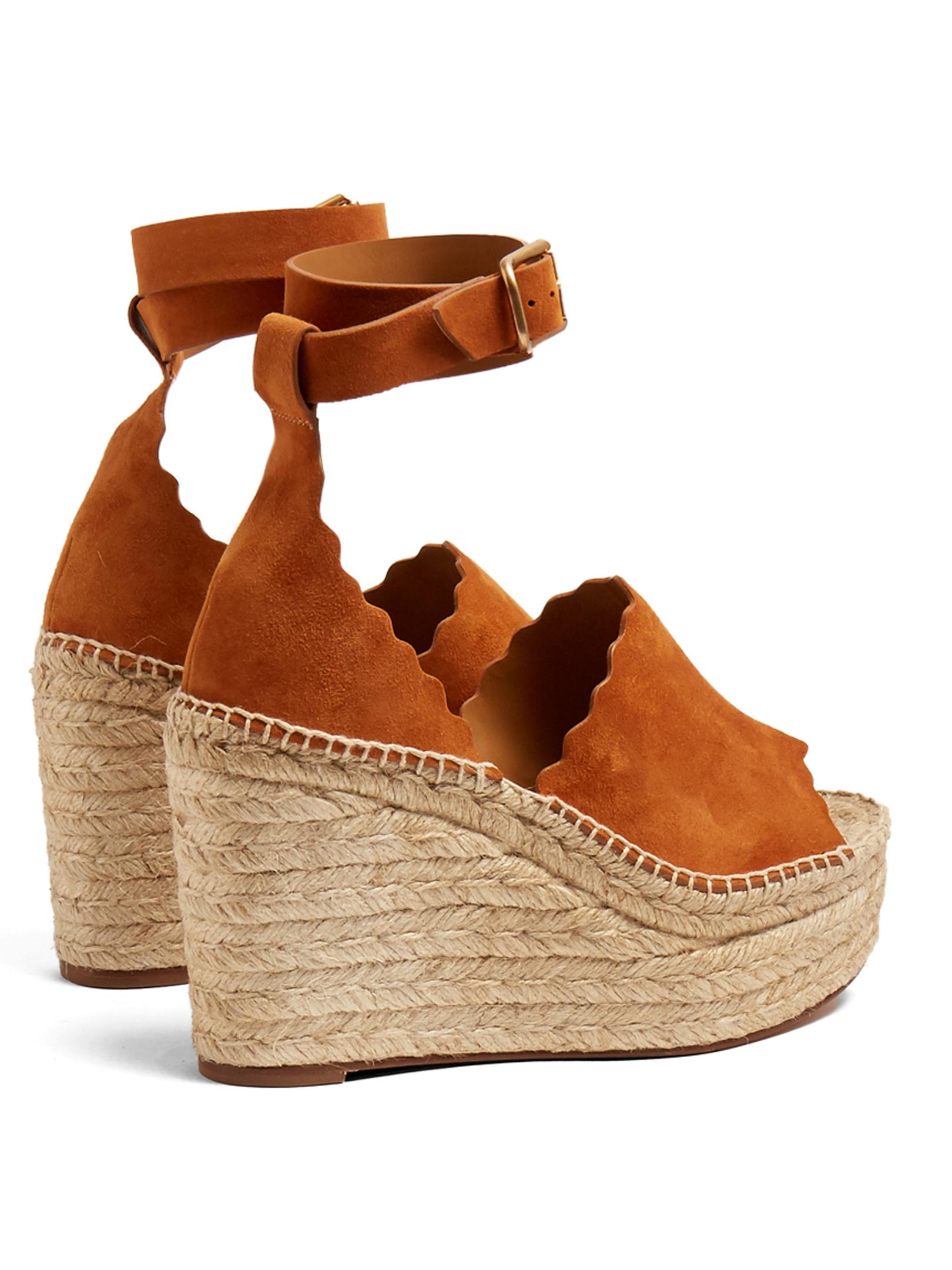be16cfa2db Chloé Lauren Suede Espadrille Wedge Sandals in Brown - Lyst