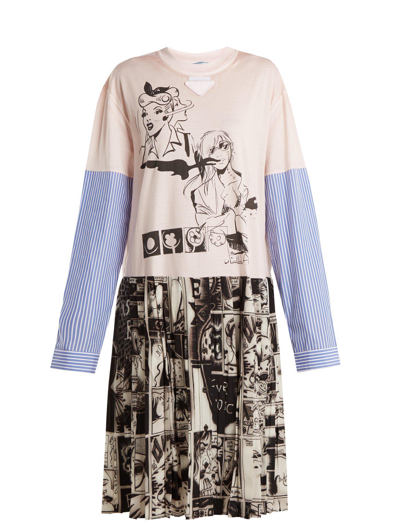 54ec6f76eb Lyst - Prada Comic Print Cotton Jersey And Silk Dress