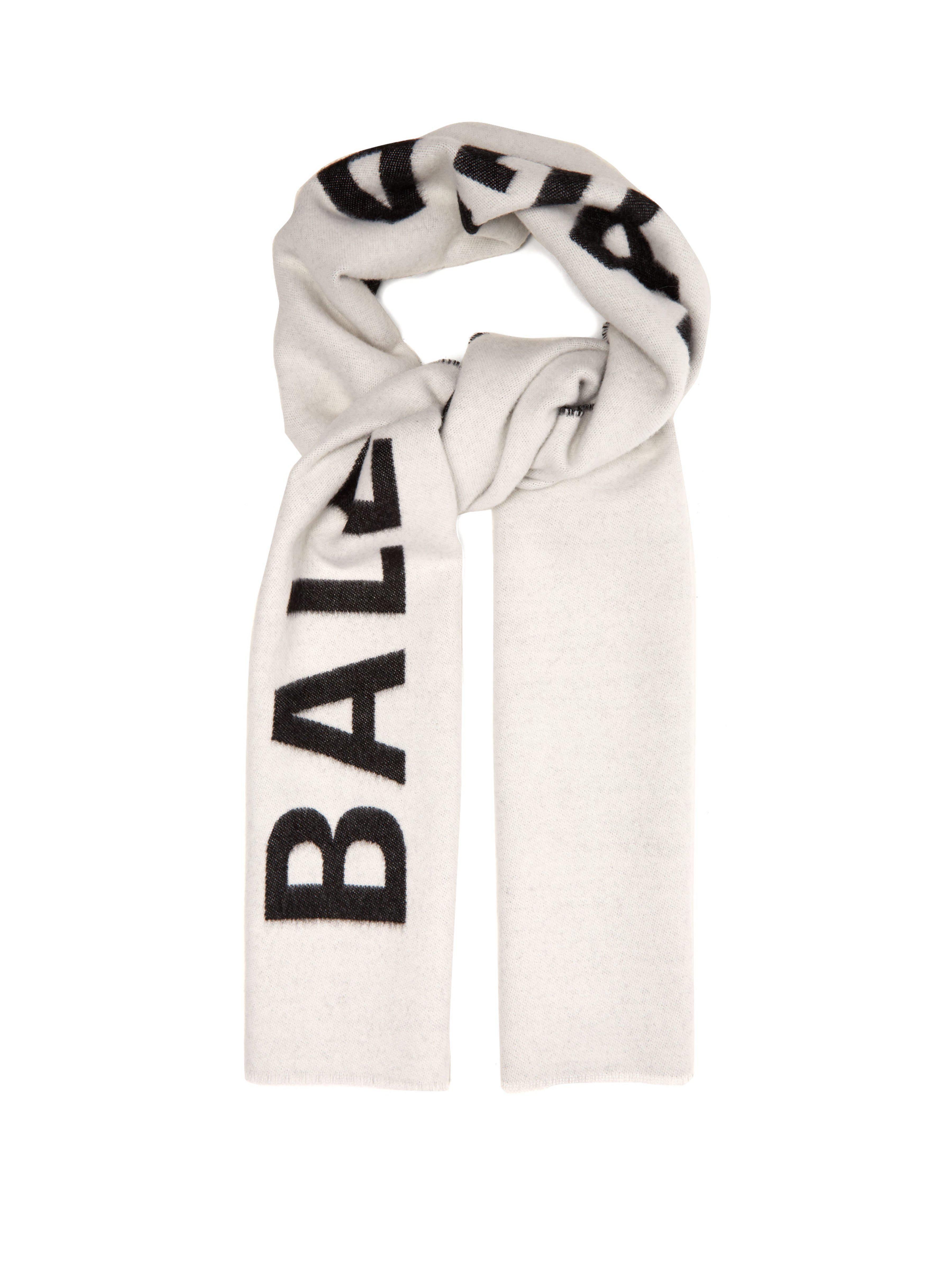 258091422873 Balenciaga. Écharpe en laine réversible à logo intarsia femme de coloris  blanc