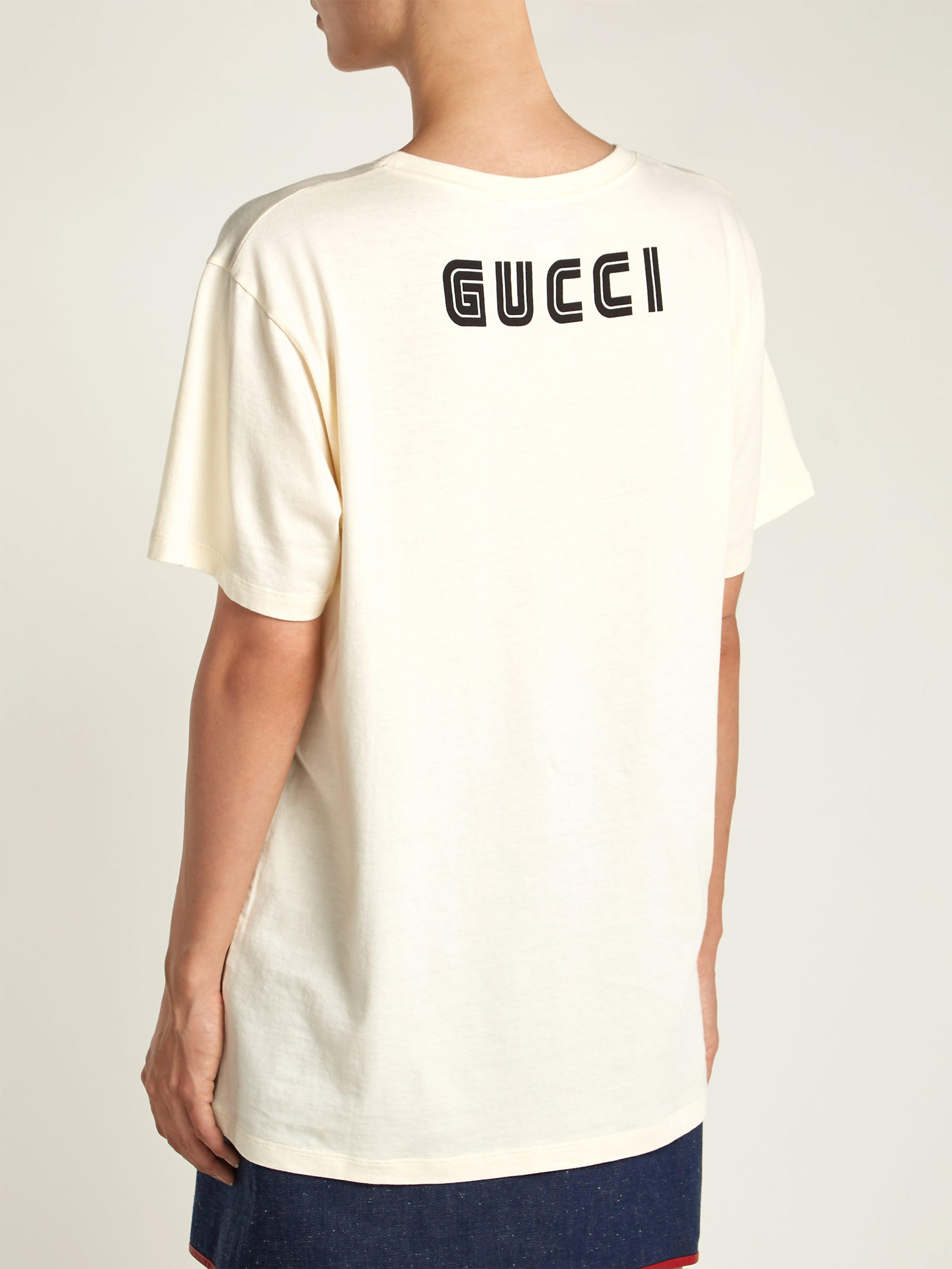 00778403d46 Gucci Rabbit Print Cotton Jersey T Shirt in White - Lyst