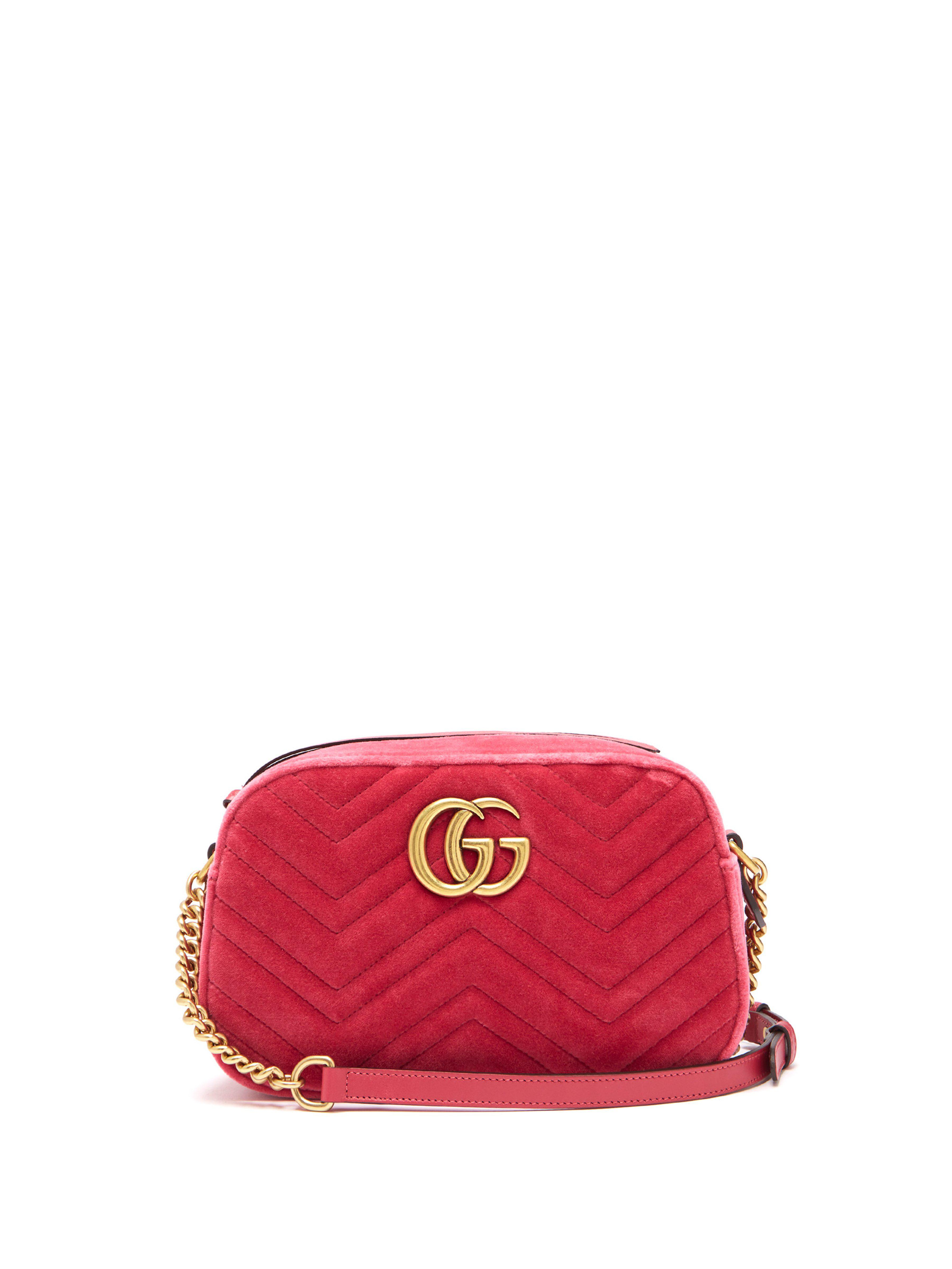 624421b37d14f Gucci Gg Marmont Quilted Velvet Cross Body Bag in Pink - Lyst
