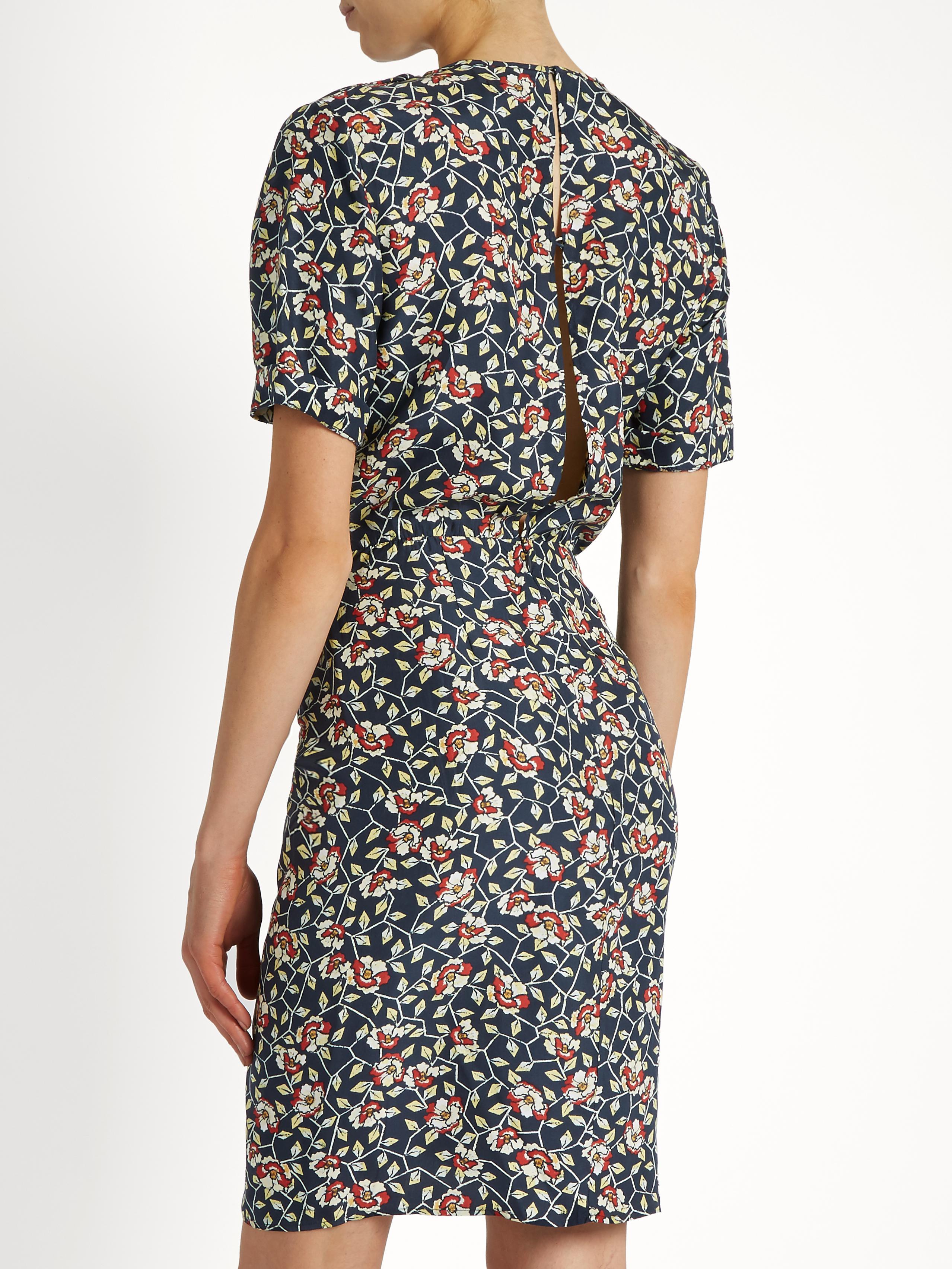 28f8a1b5052 Isabel Marant Rehora Floral-print Silk-habotai Dress in Black - Lyst