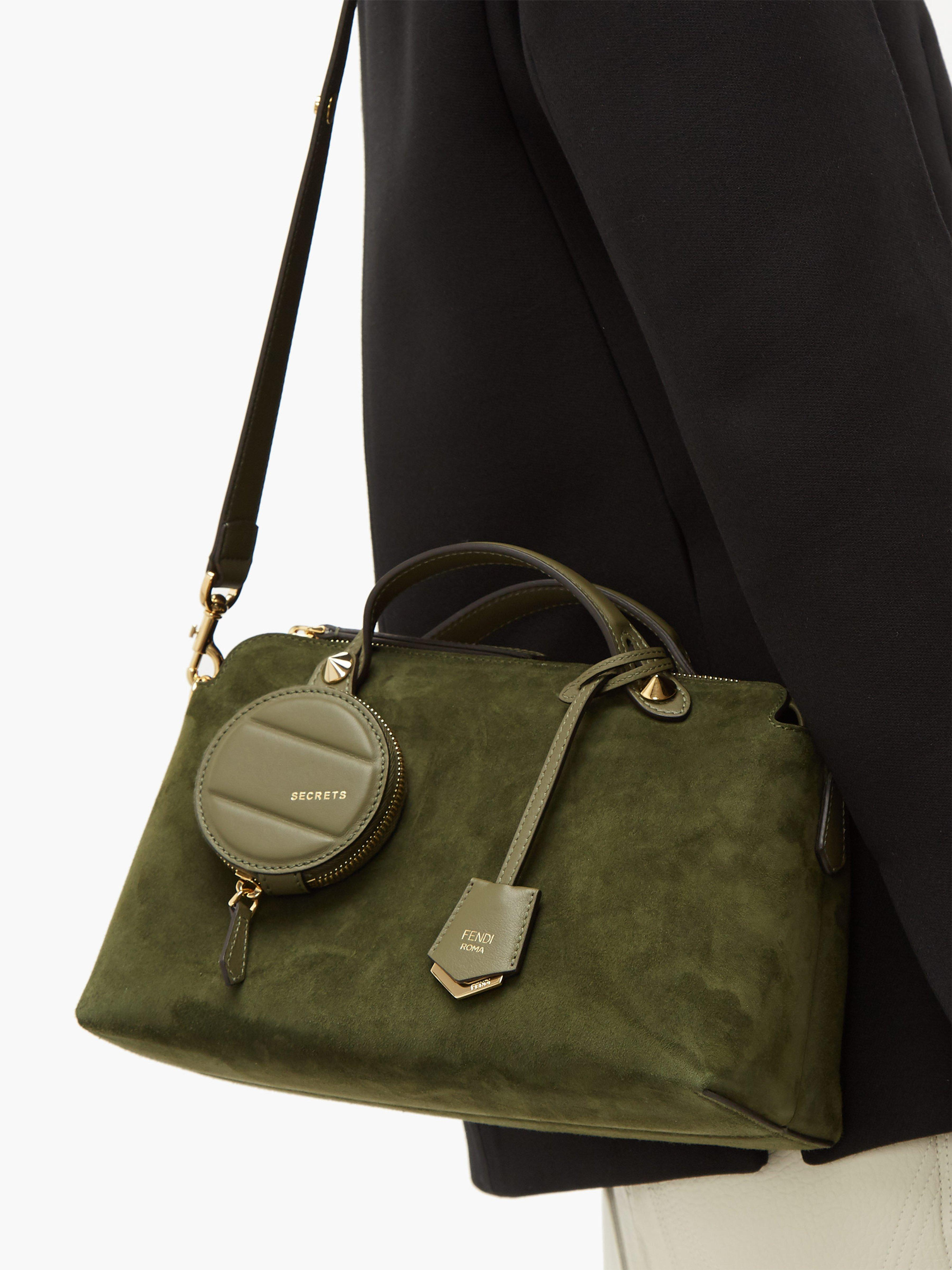 15d33cec5270 Fendi By The Way Suede Shoulder Bag in Green - Lyst
