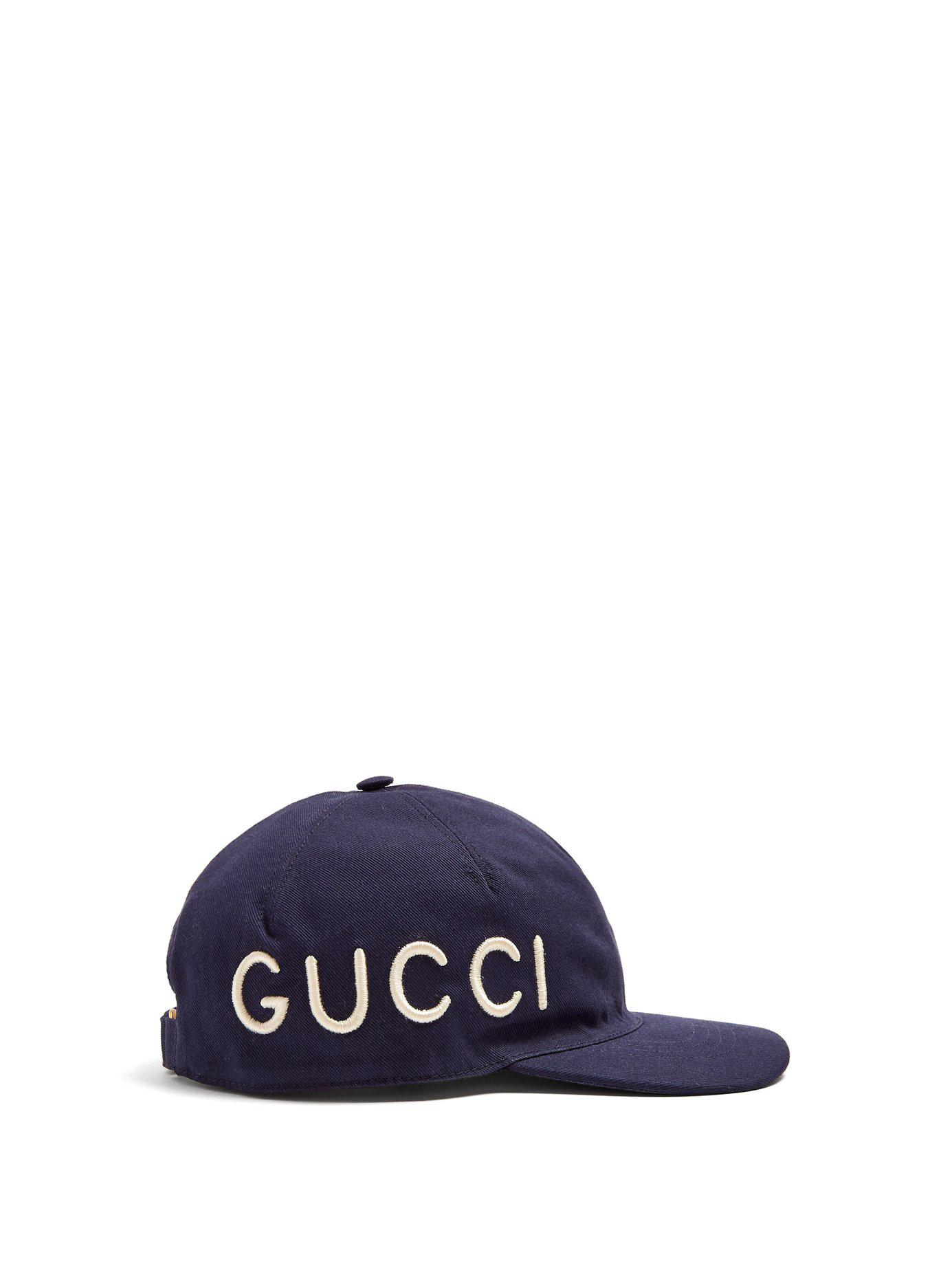 41759329ae5 Gucci - Blue Logo Embroidered Cotton Cap for Men - Lyst. View fullscreen