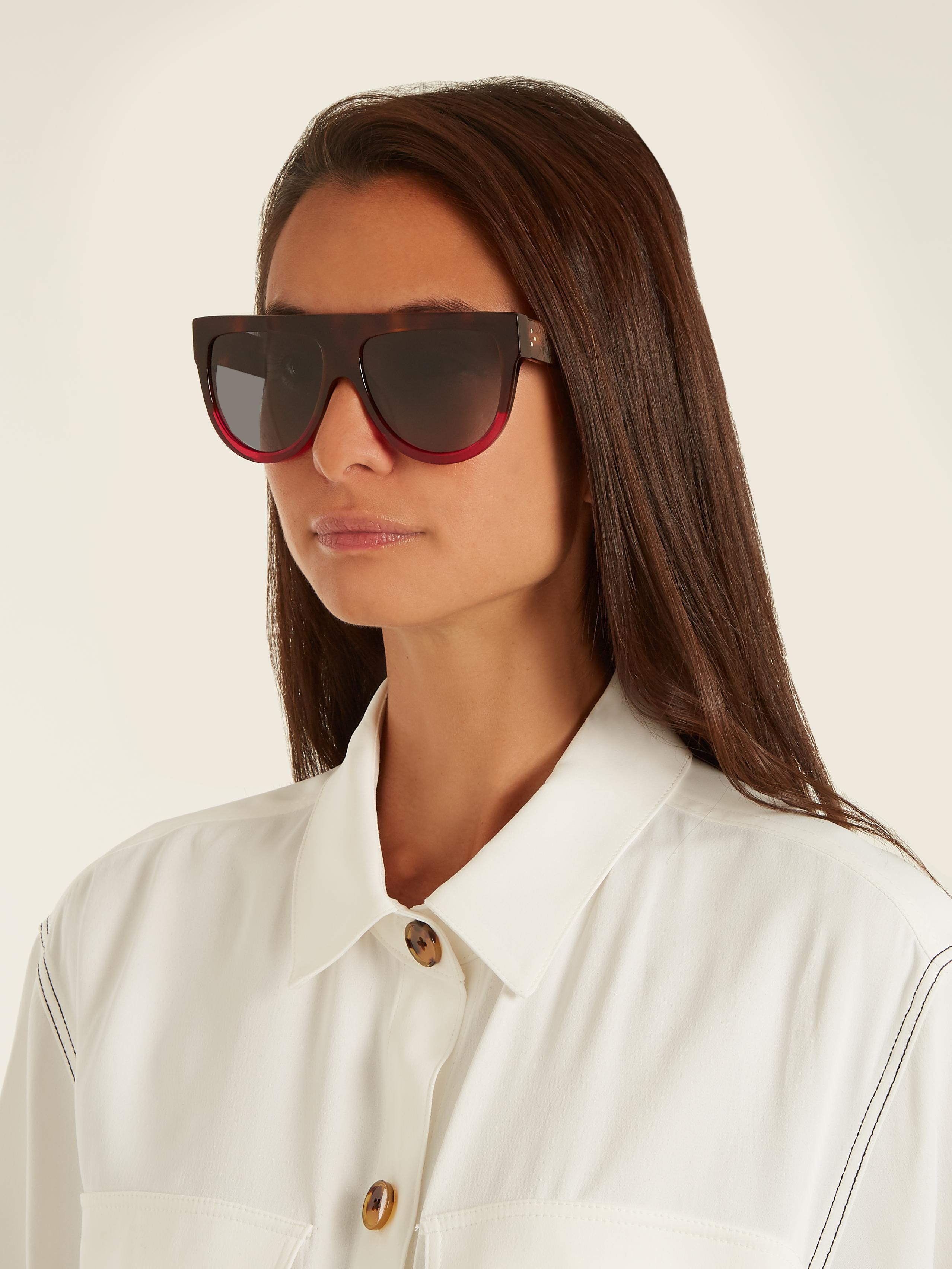 a4808982a9db3 Céline Shadow Aviator D-frame Acetate Sunglasses - Lyst