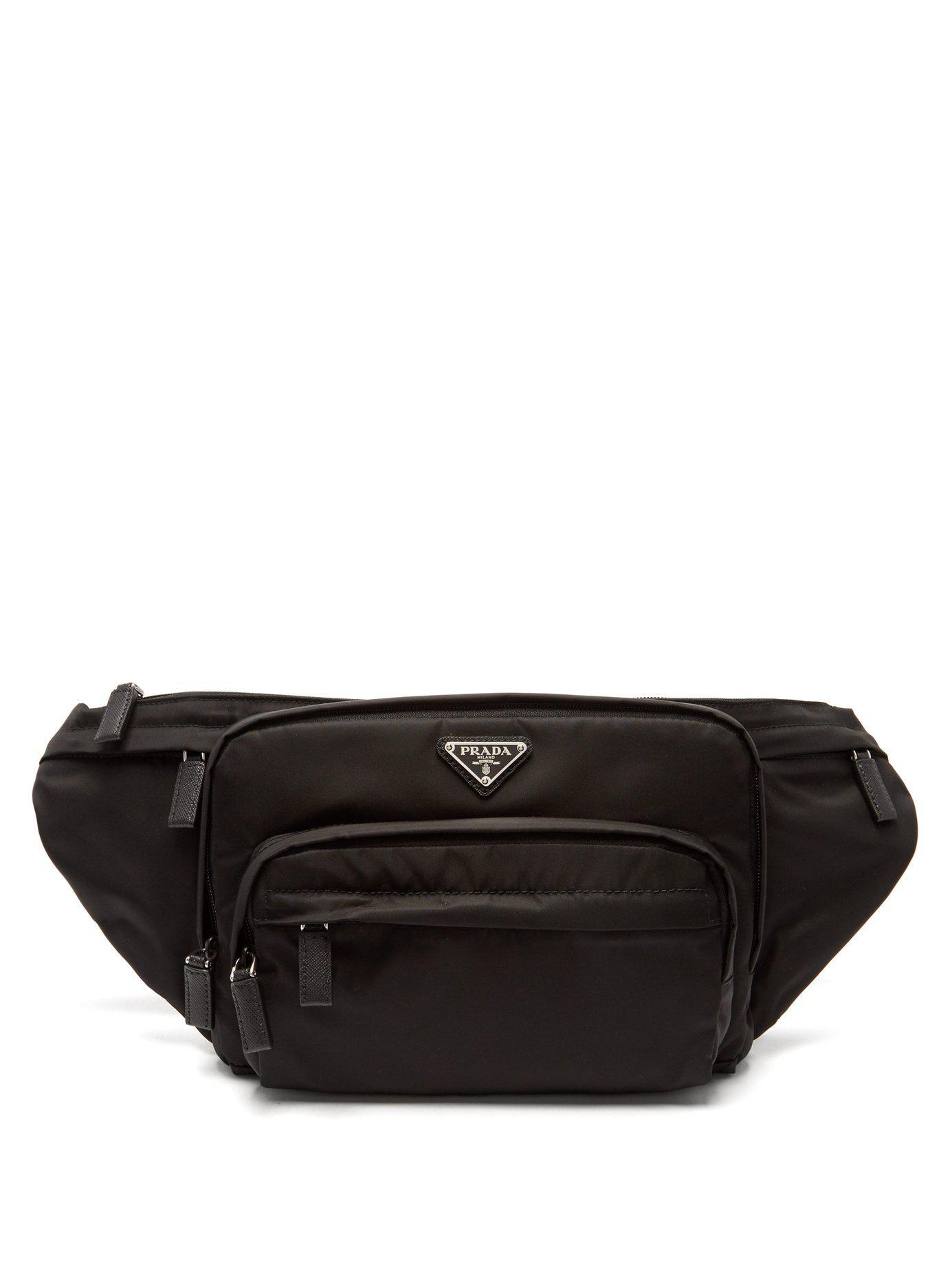 Prada - Black Logo Plaque Nylon Belt Bag for Men - Lyst. View fullscreen 92ac8165ccb3e