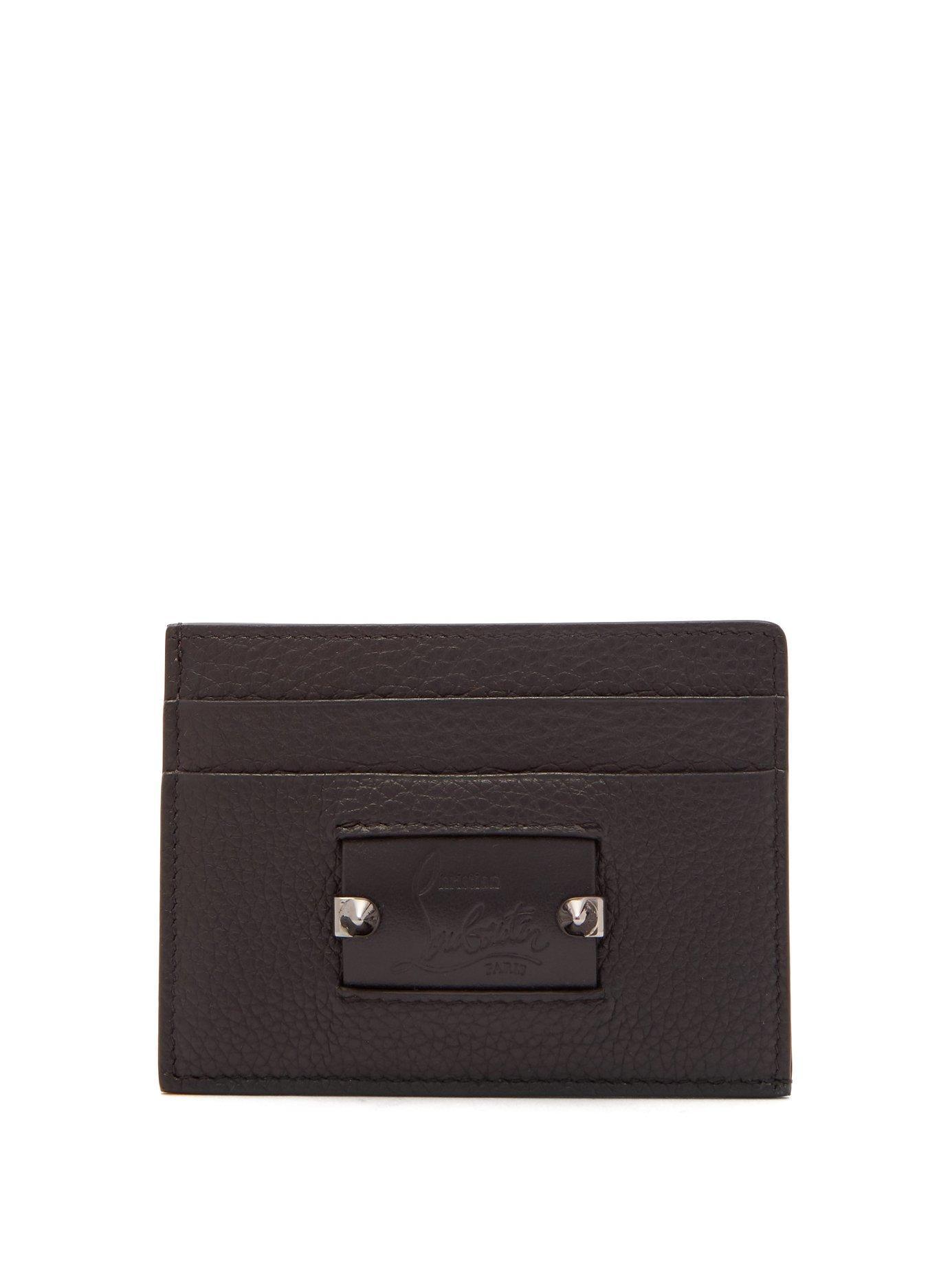3dcd84b148e Lyst - Christian Louboutin Kios Spike Leather Cardholder in Black ...