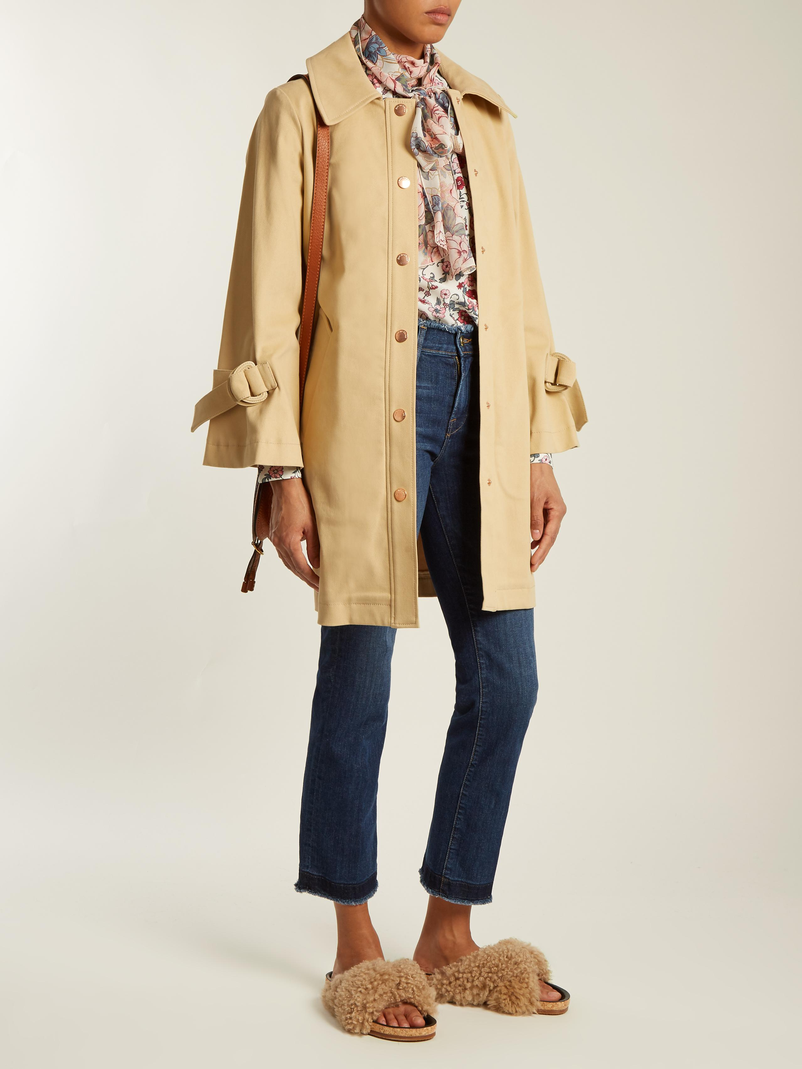 483517b04da3 Lyst - See By Chloé Tie-sleeve Stretch-cotton Coat in Natural