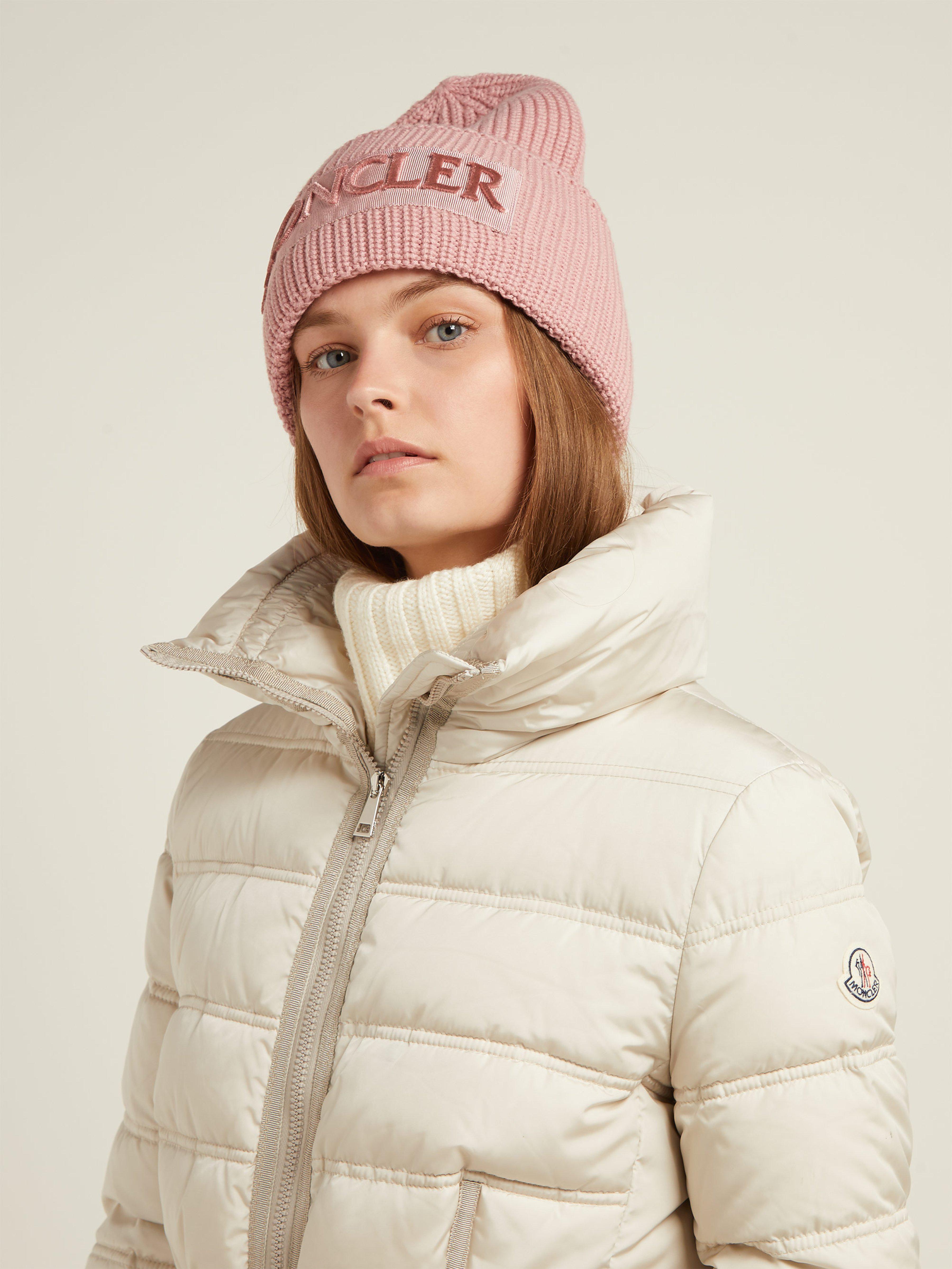 92eed28054c Moncler Velvet Logo Wool Beanie Hat in Pink - Lyst