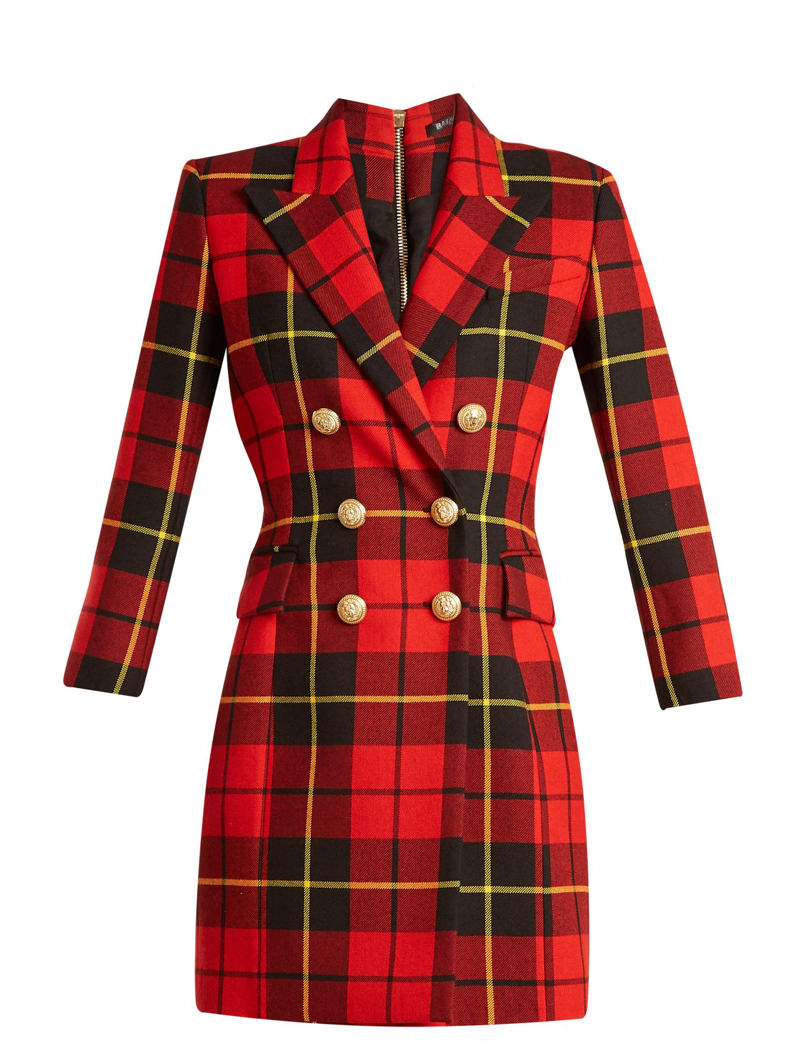 fd02023d Balmain Tartan Double-breasted Wool Mini Dress in Red - Lyst