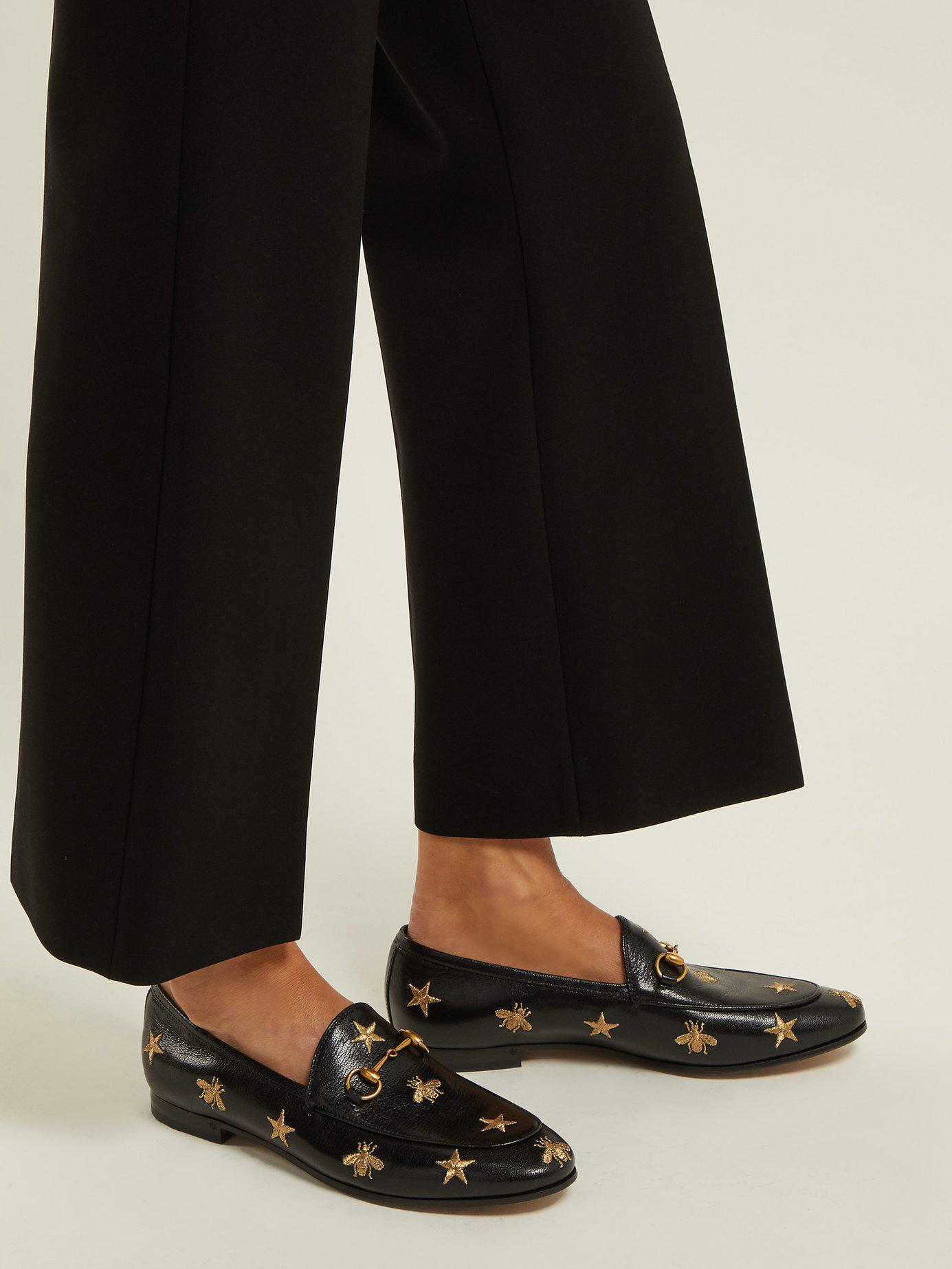 e2adb95dbf2 Gucci - Black Jordaan Embroidered Leather Loafers - Lyst. View fullscreen