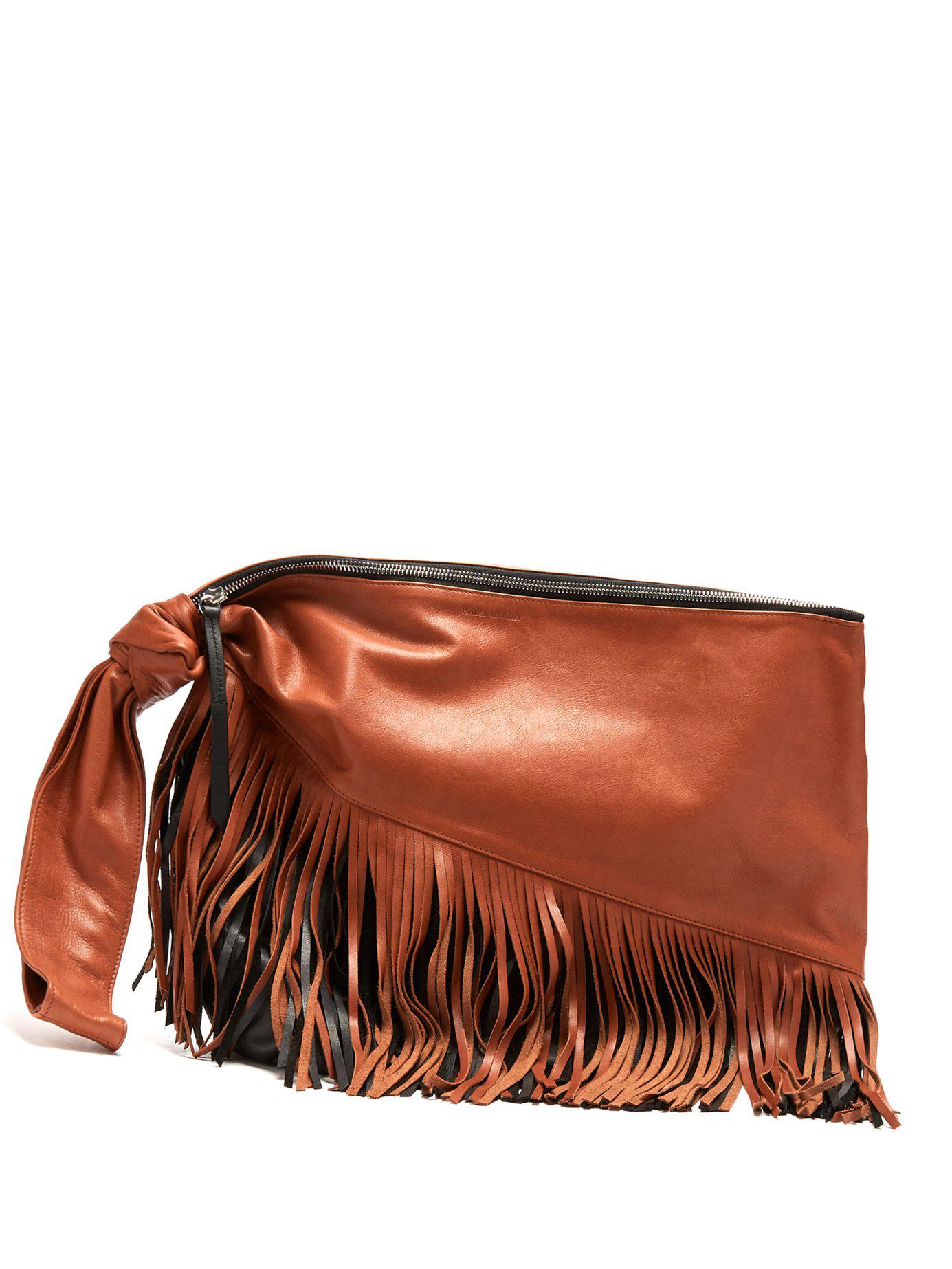 8392dfa05a3 Lyst - Isabel Marant Farwo Tasselled Leather Clutch in Red