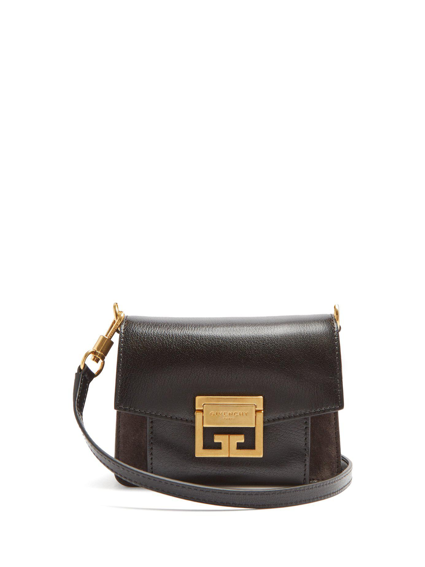 886eec5d3c5d49 Givenchy Gv3 Mini Suede And Leather Cross Body Bag in Black - Lyst