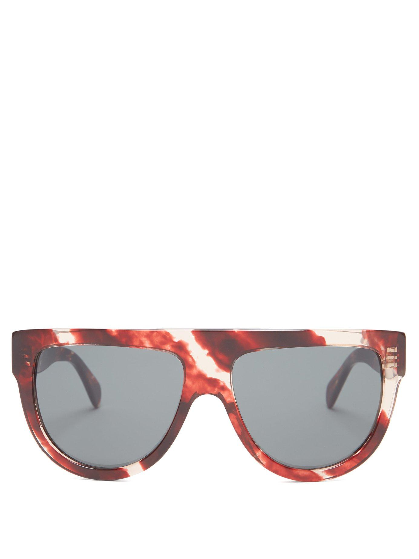 bef9747f95ad Lyst - Céline Shadow D Frame Marbled Acetate Sunglasses in Red