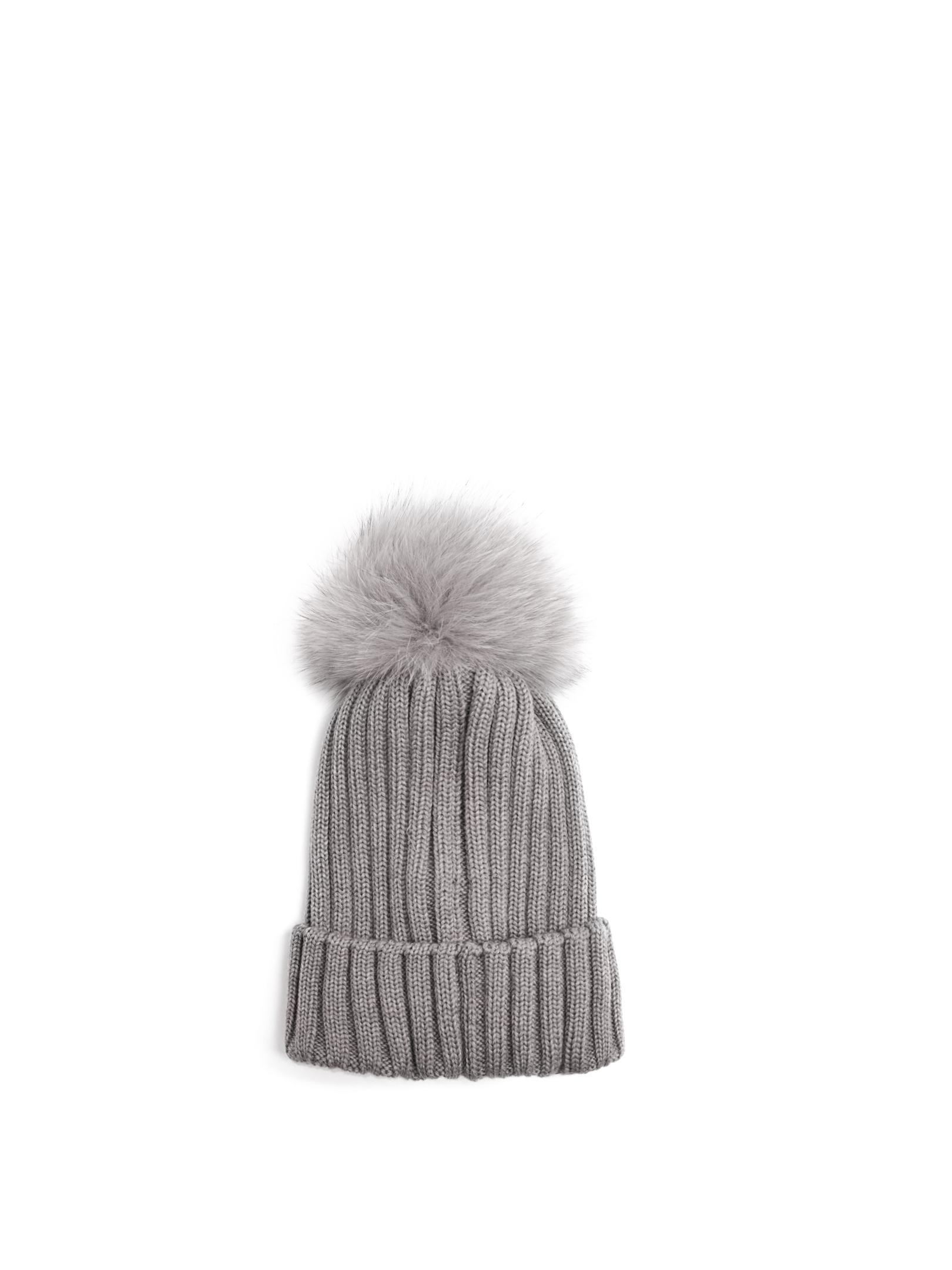 08080e1cacf Moncler Fur-pompom Wool Beanie Hat in Gray - Lyst