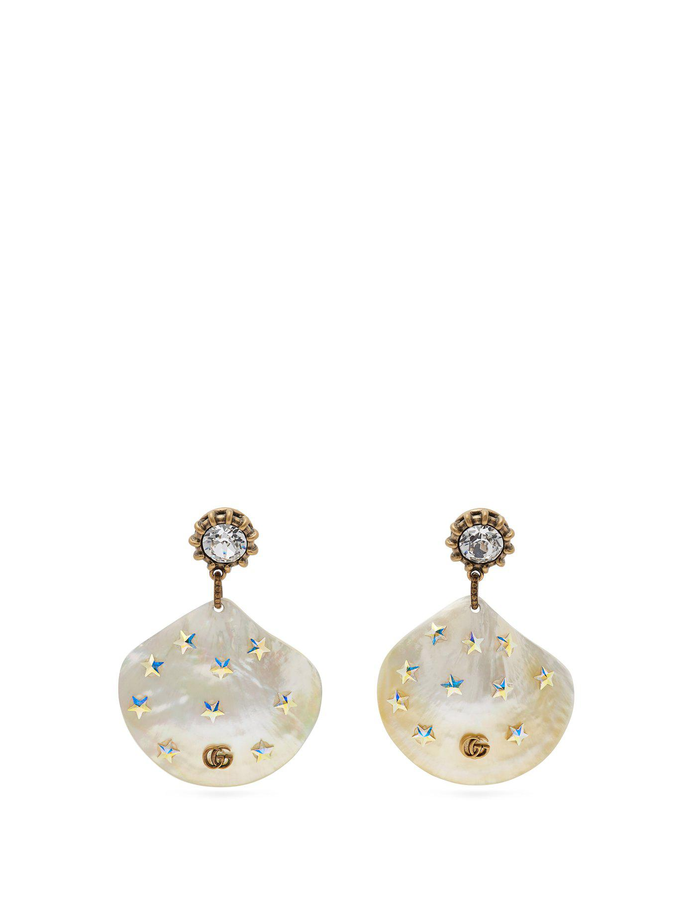 21c95015dca Gucci - Multicolor Gg Mother Of Pearl Drop Earrings - Lyst. View fullscreen