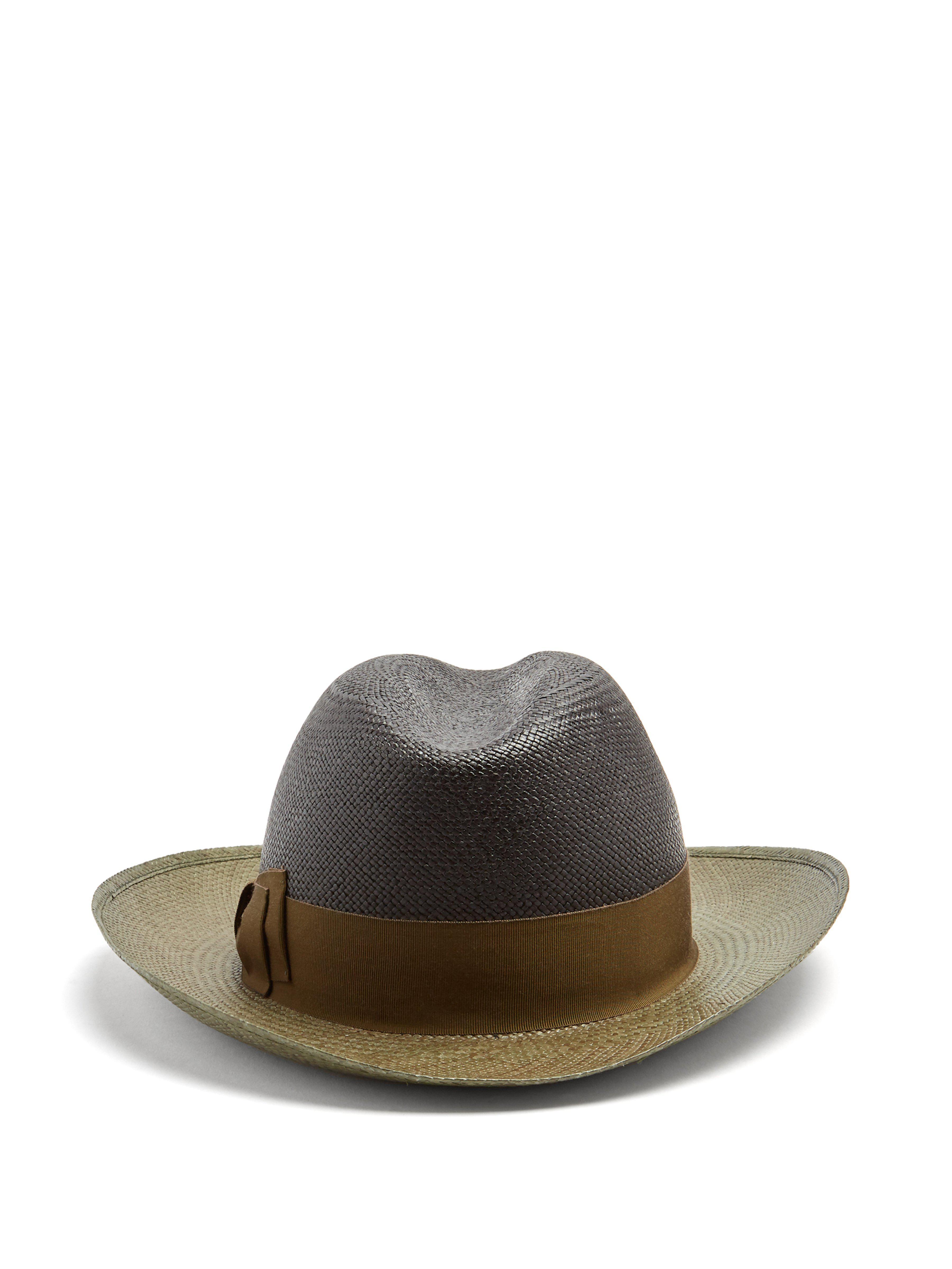 Borsalino - Multicolor Bi Colour Bow Embellished Panama Hat for Men - Lyst.  View fullscreen df3887f3784d
