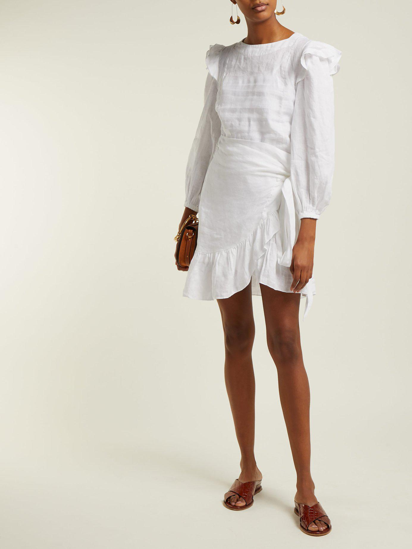 1470476f0a Lyst - Étoile Isabel Marant Telicia Ruffle Trim Linen Dress in White