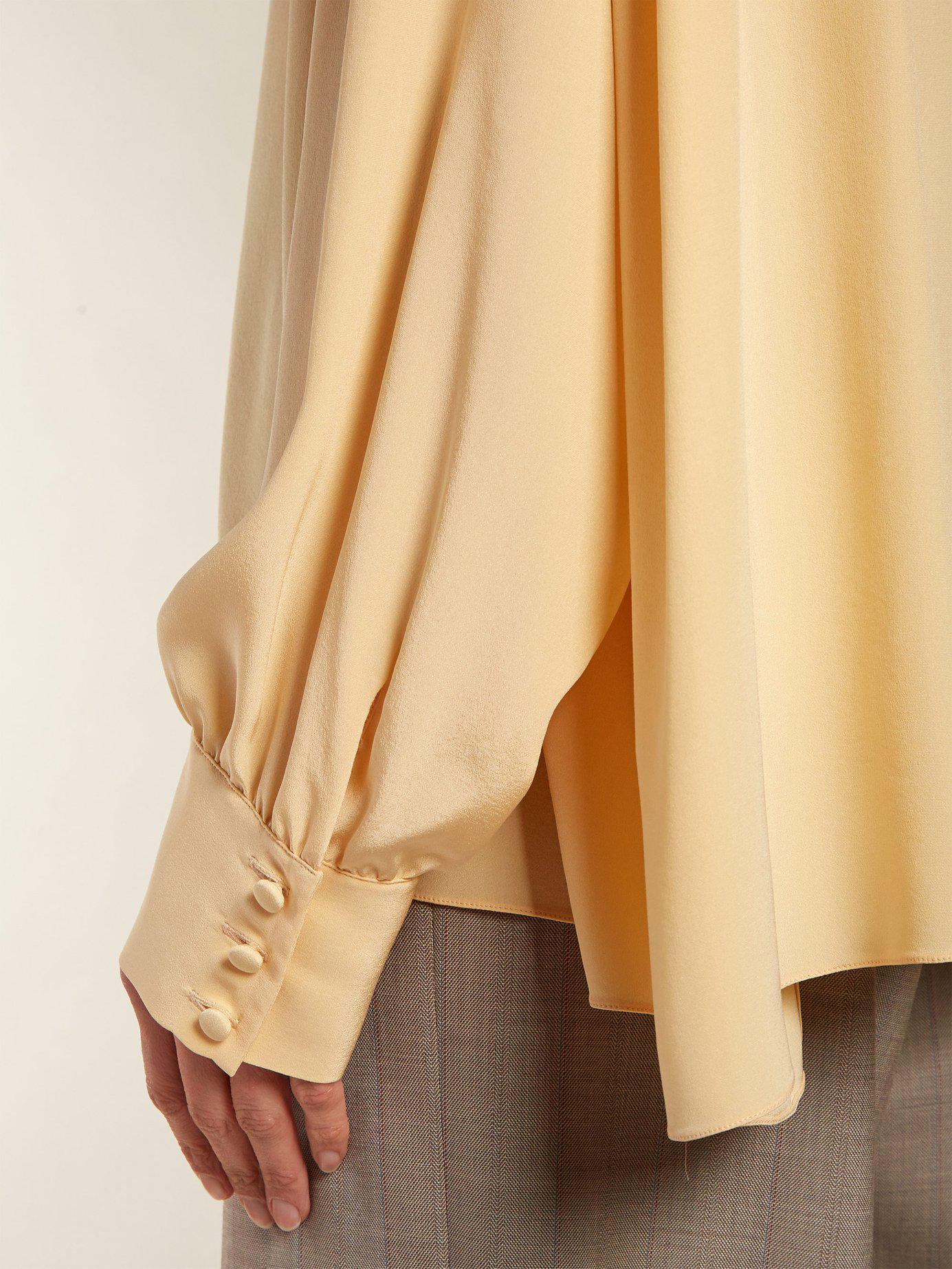 6c73b18ddb19d The Row - Yellow Losaline Silk Crepe De Chine Blouse - Lyst. View fullscreen