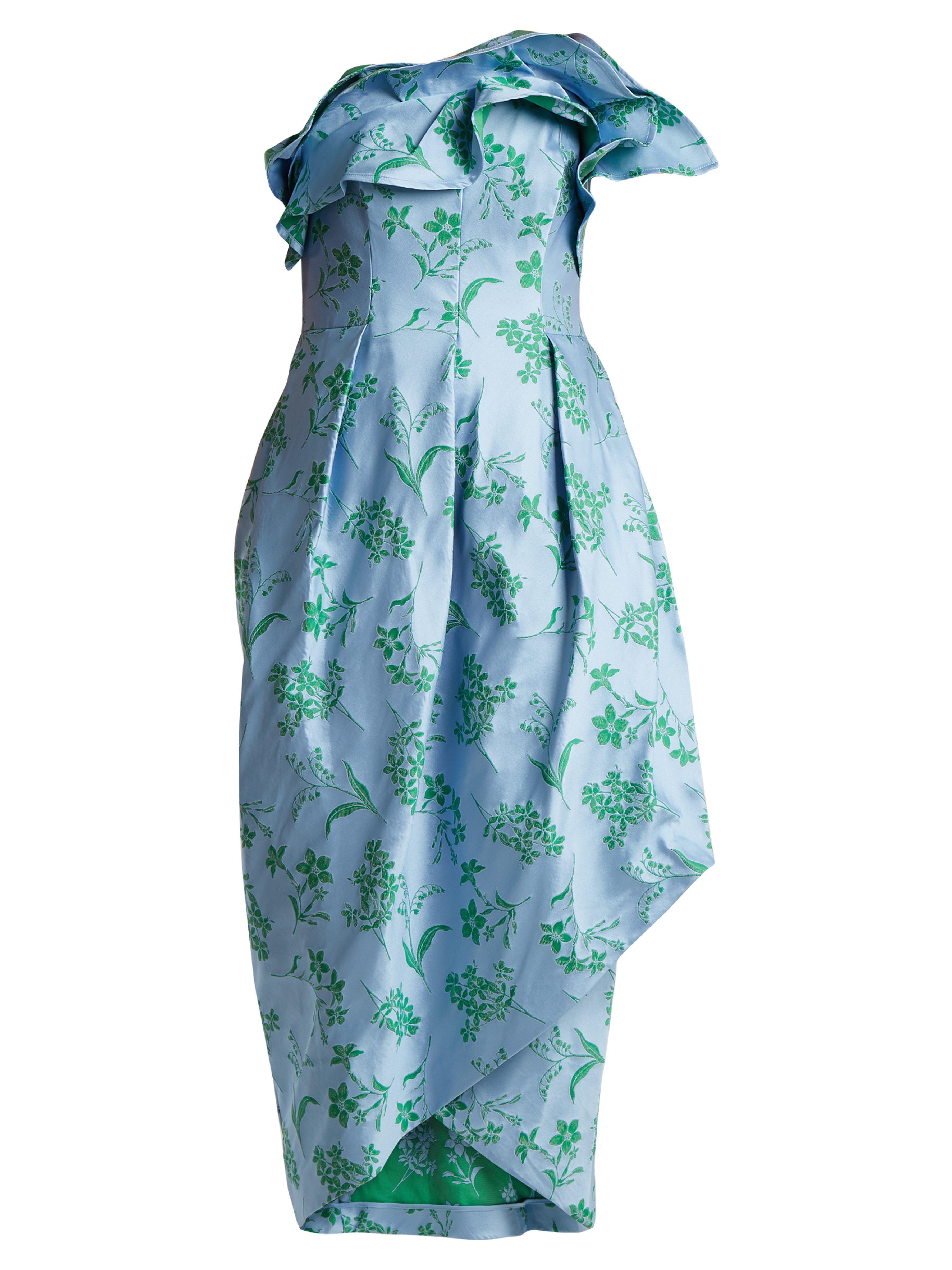 eafc5af39bb85 Lyst - Robe bustier à imprimé fleuri Carolina Herrera en coloris ...