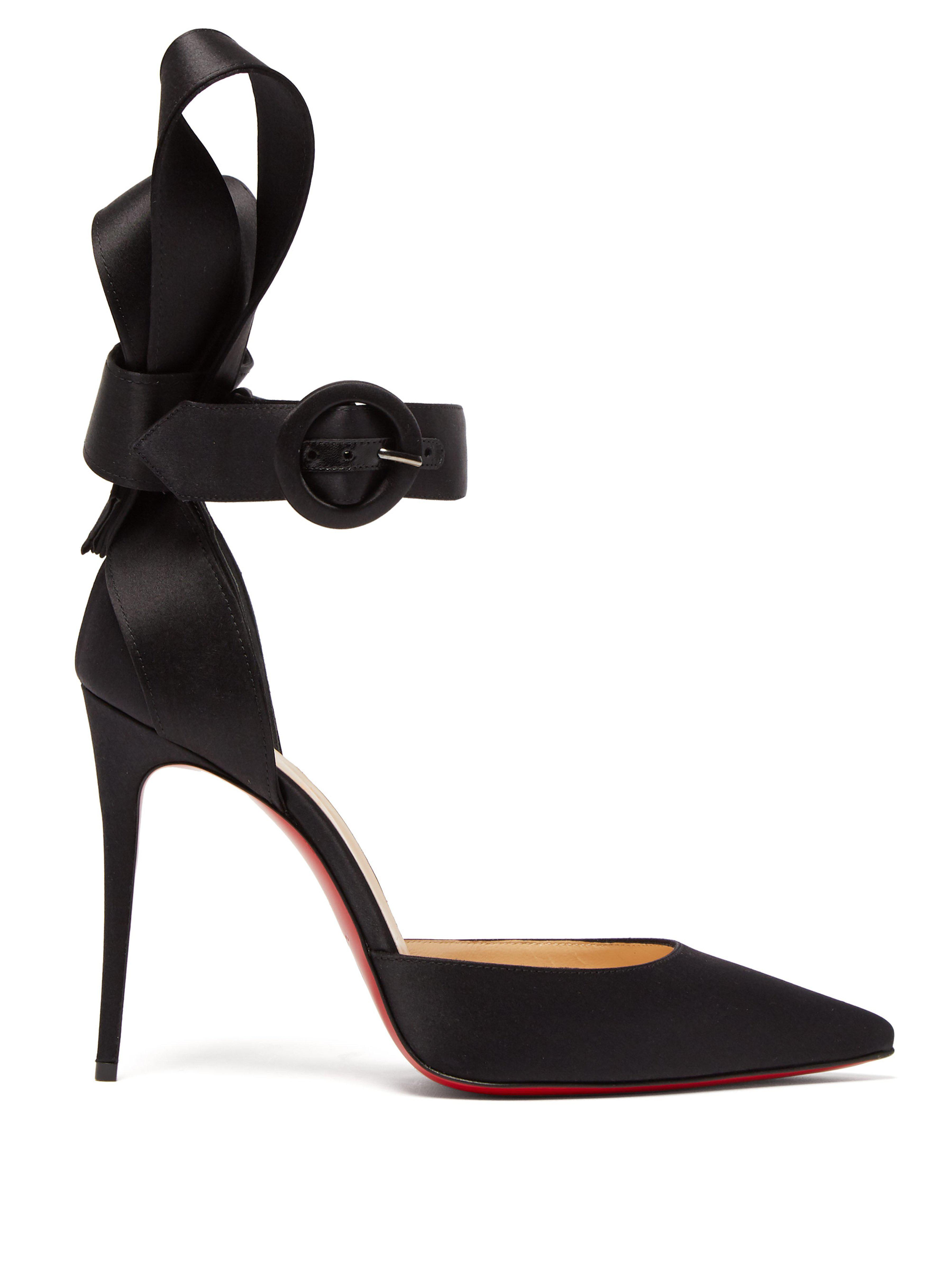 c1f690edbc2 Christian Louboutin Raissa 100 Bow Back Satin Pumps in Black - Lyst
