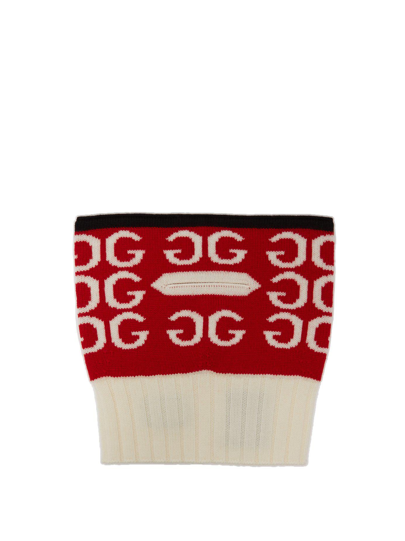 f6fcab17a7e Lyst - Gucci Gg Wool Balaclava in Red
