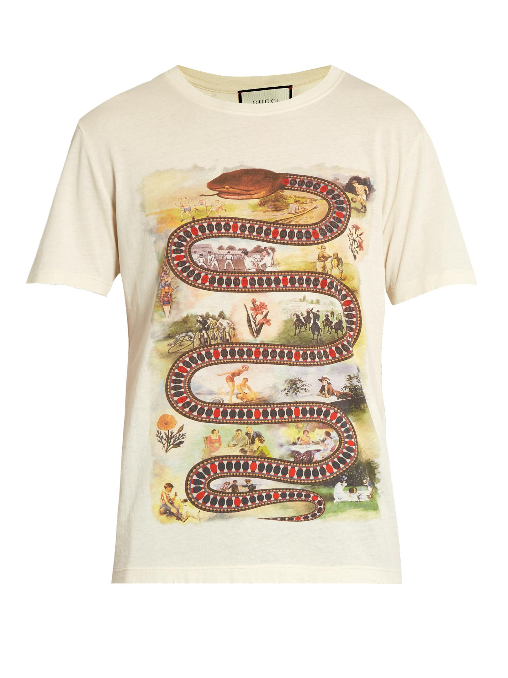 836626bee Gucci Snake-print Cotton T-shirt in White for Men - Lyst