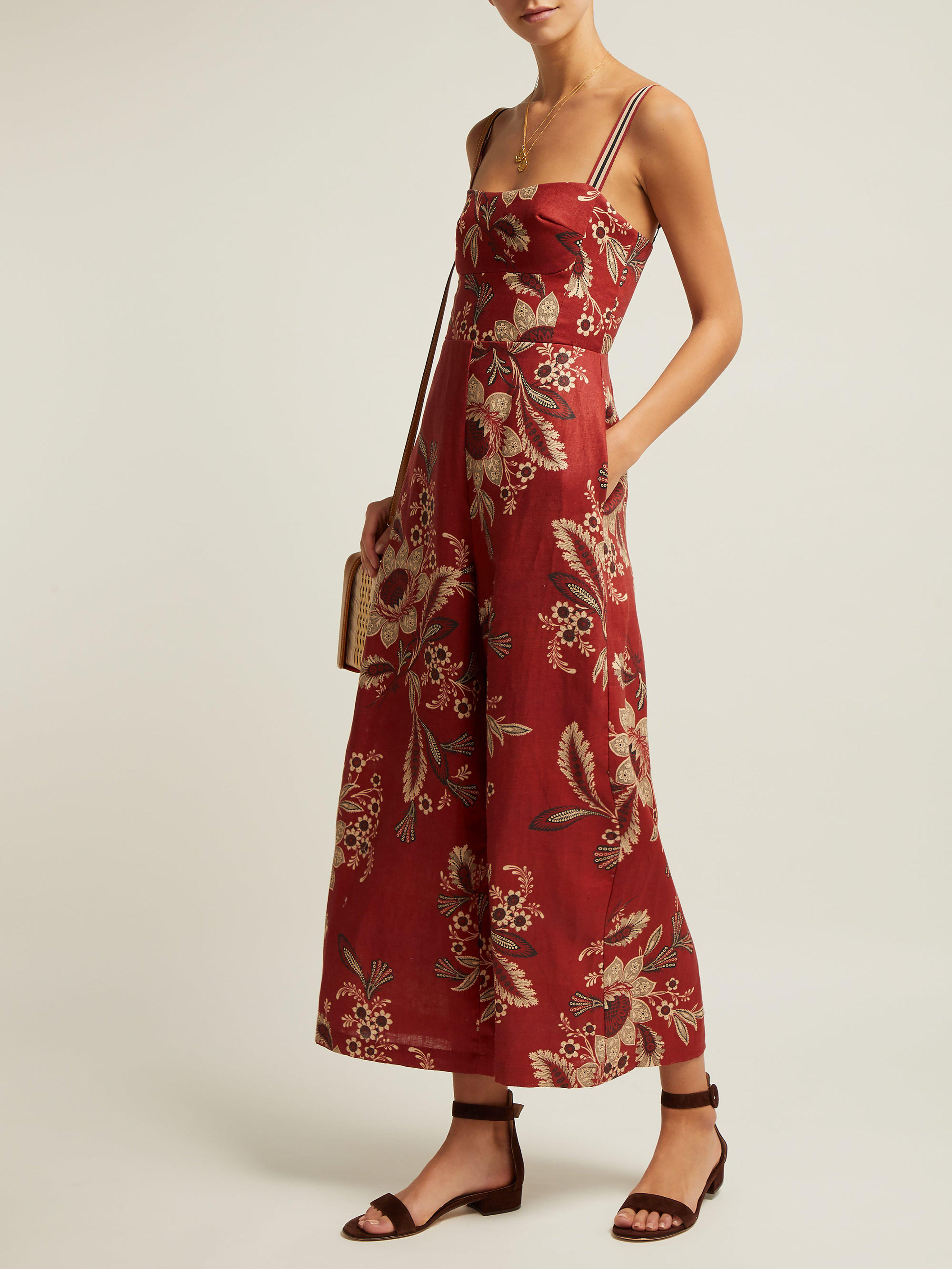 40a006276bc Zimmermann Juno Floral Print Linen Jumpsuit in Red - Lyst