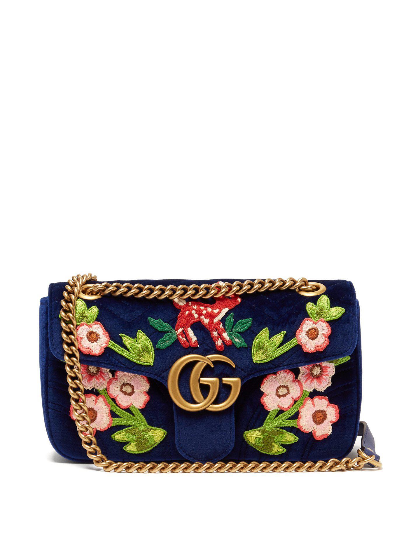 Lyst - Sac bandoulière en velours brodé GG Marmont Gucci en coloris Bleu b4be840951d