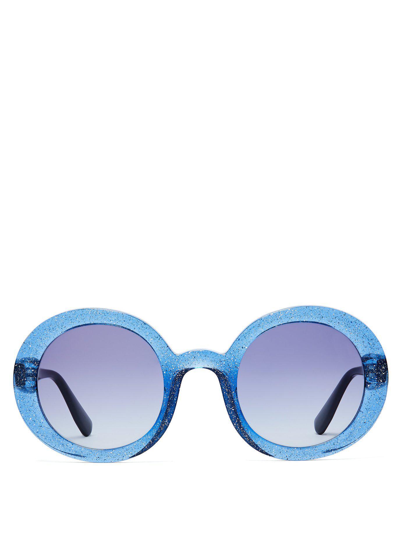 f14301efba Lyst - Miu Miu Oversized Glitter Acetate Round Sunglasses in Blue