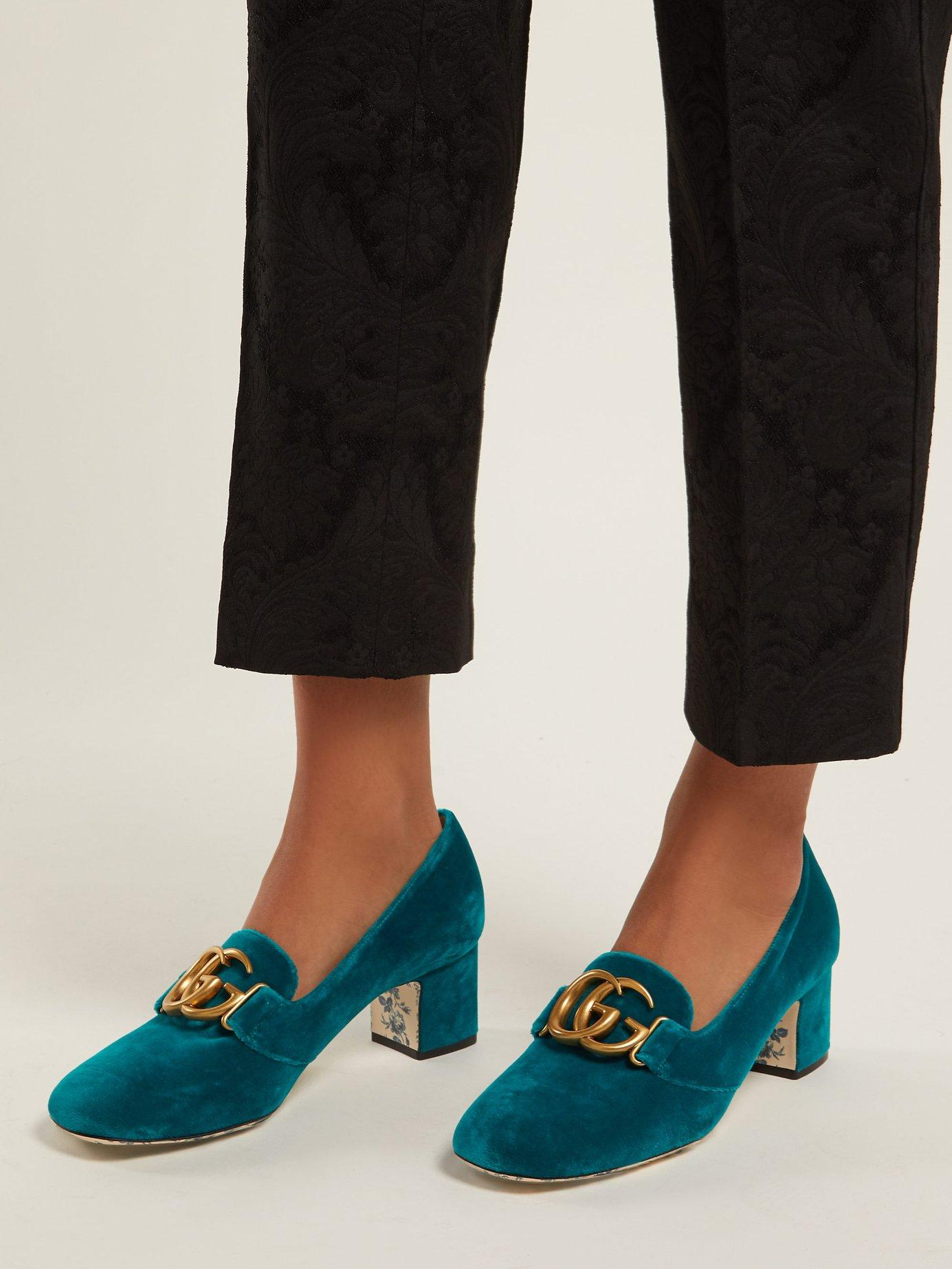 3057b313a1 Gucci - Blue Gg Velvet Pumps - Lyst. View fullscreen
