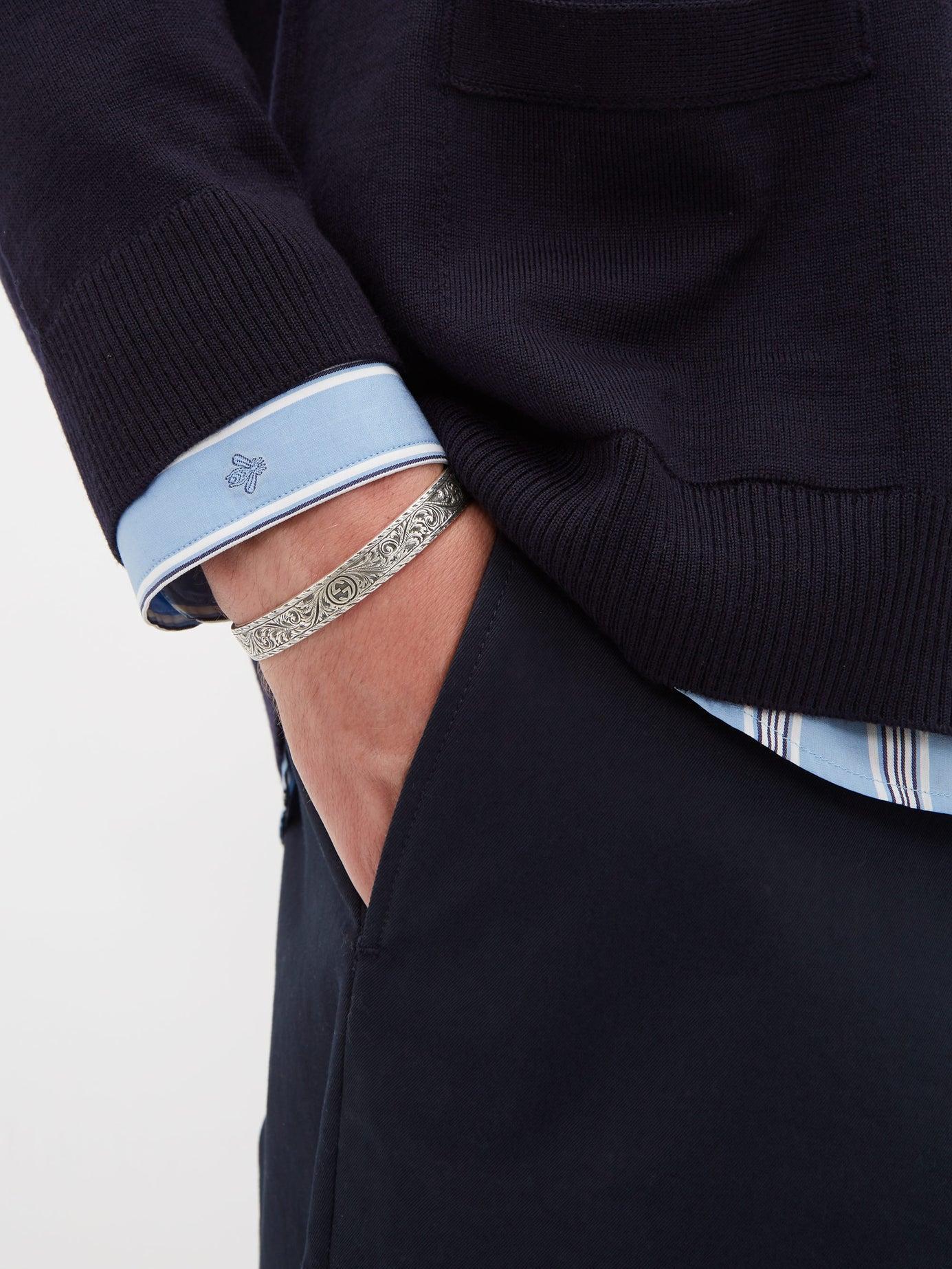 6473cc655 Gucci Tiger Head Sterling Silver Cuff Bracelet in Metallic for Men - Lyst