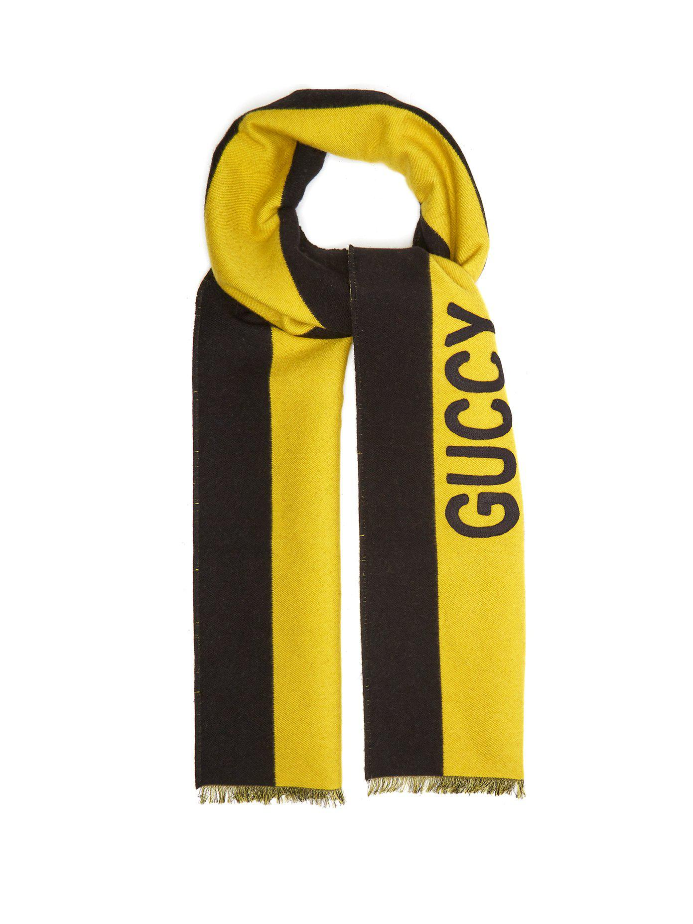 Lyst - Écharpe en soie et laine à appliqué Guccy Gucci pour homme en ... 4800b4c6682