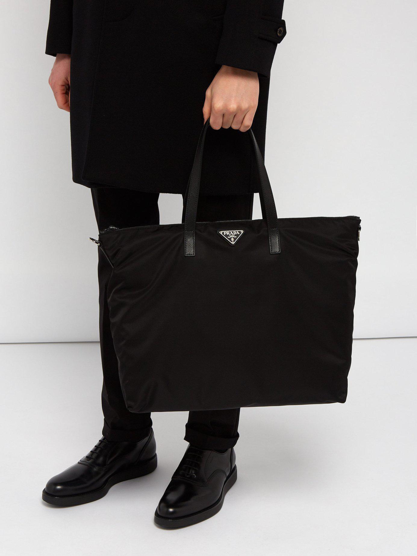 Prada - Black Nylon Tote Bag for Men - Lyst. View fullscreen cfffc26f21045